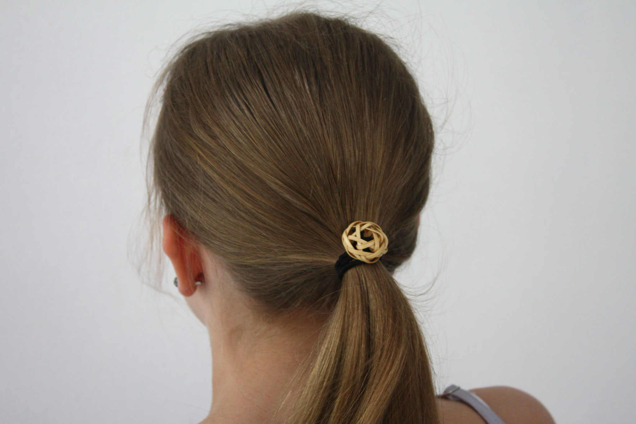 bamboo hair tie natural tied