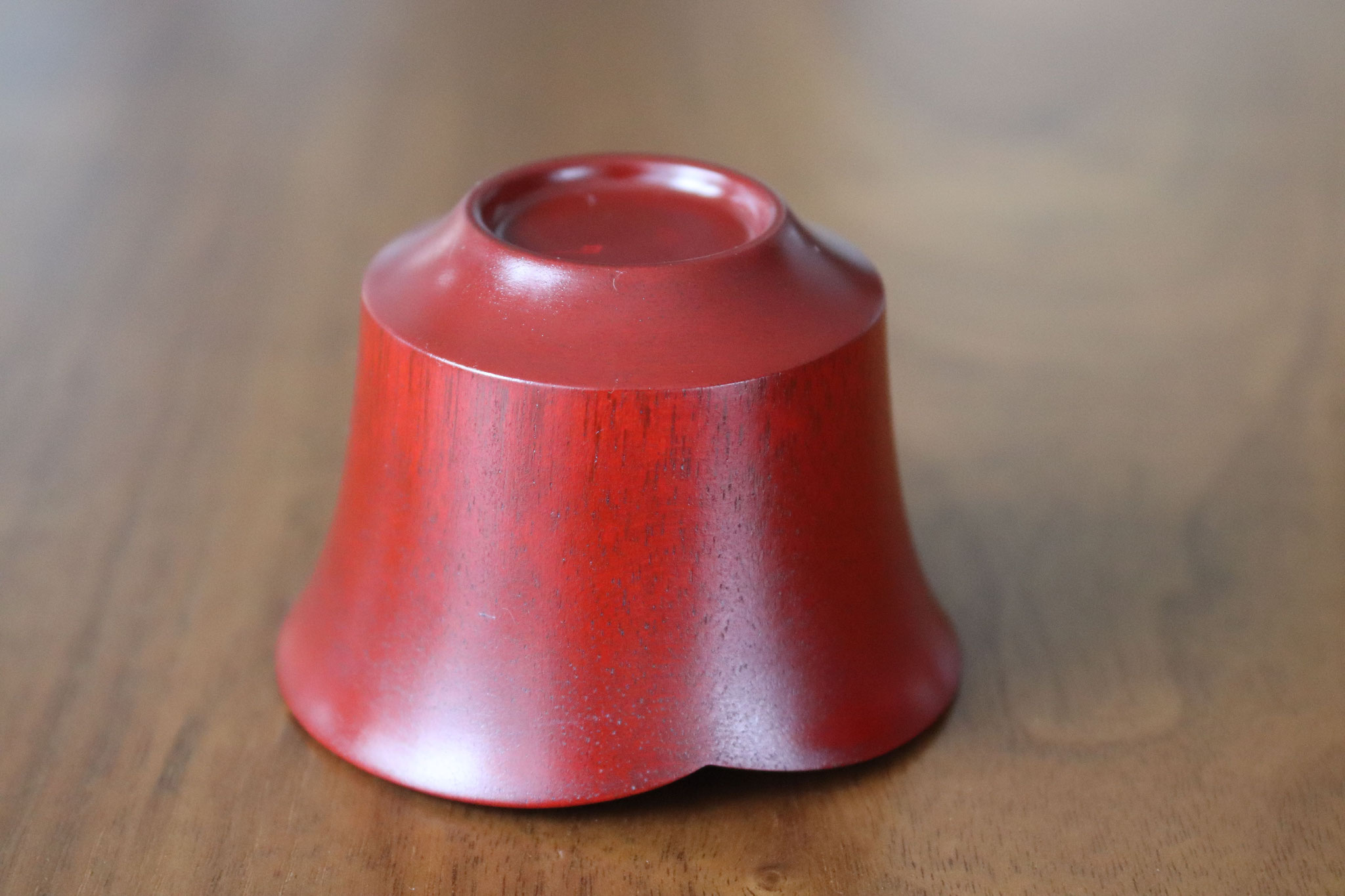 Smiling bean sake cup red