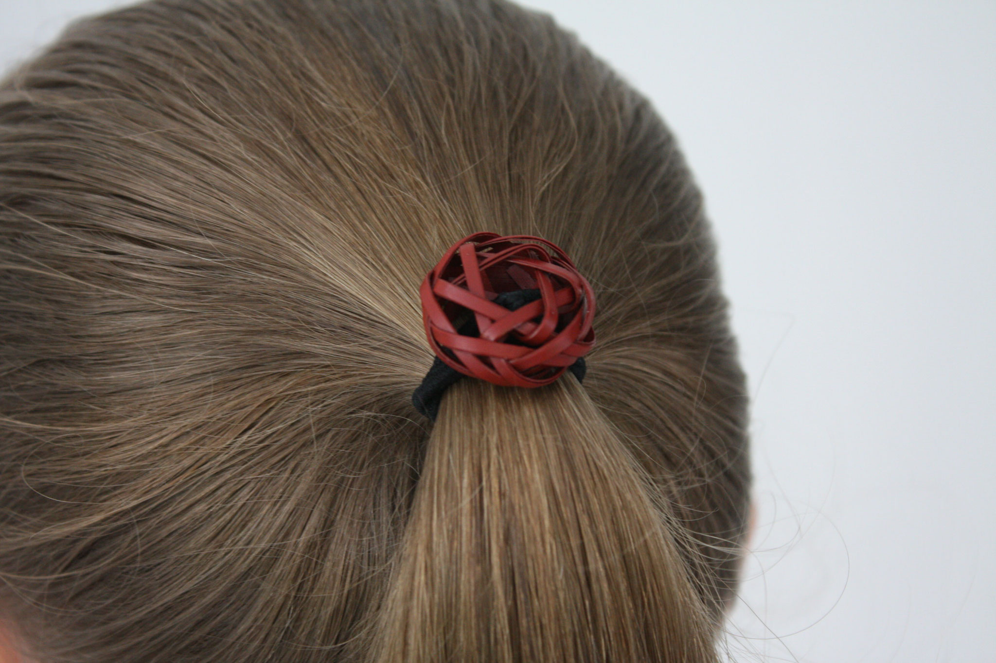 bamboo hair tie red tied