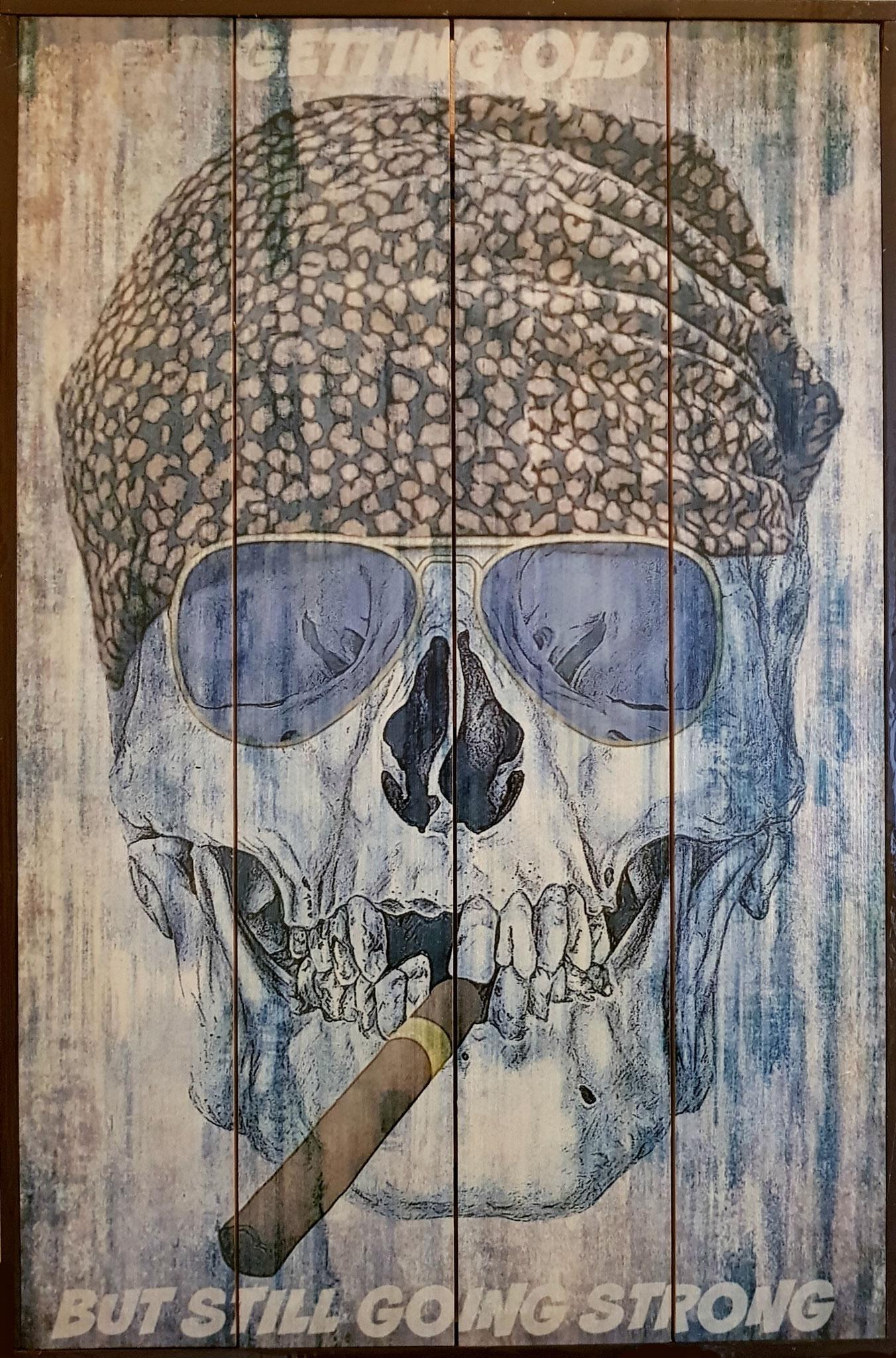 Skull 3 on wood