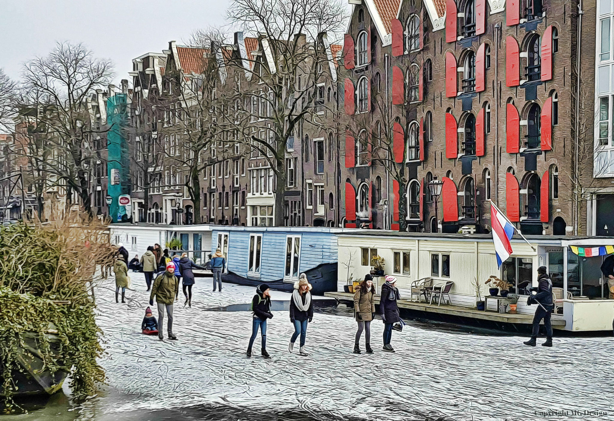 Scating on the canals of Amsterdam