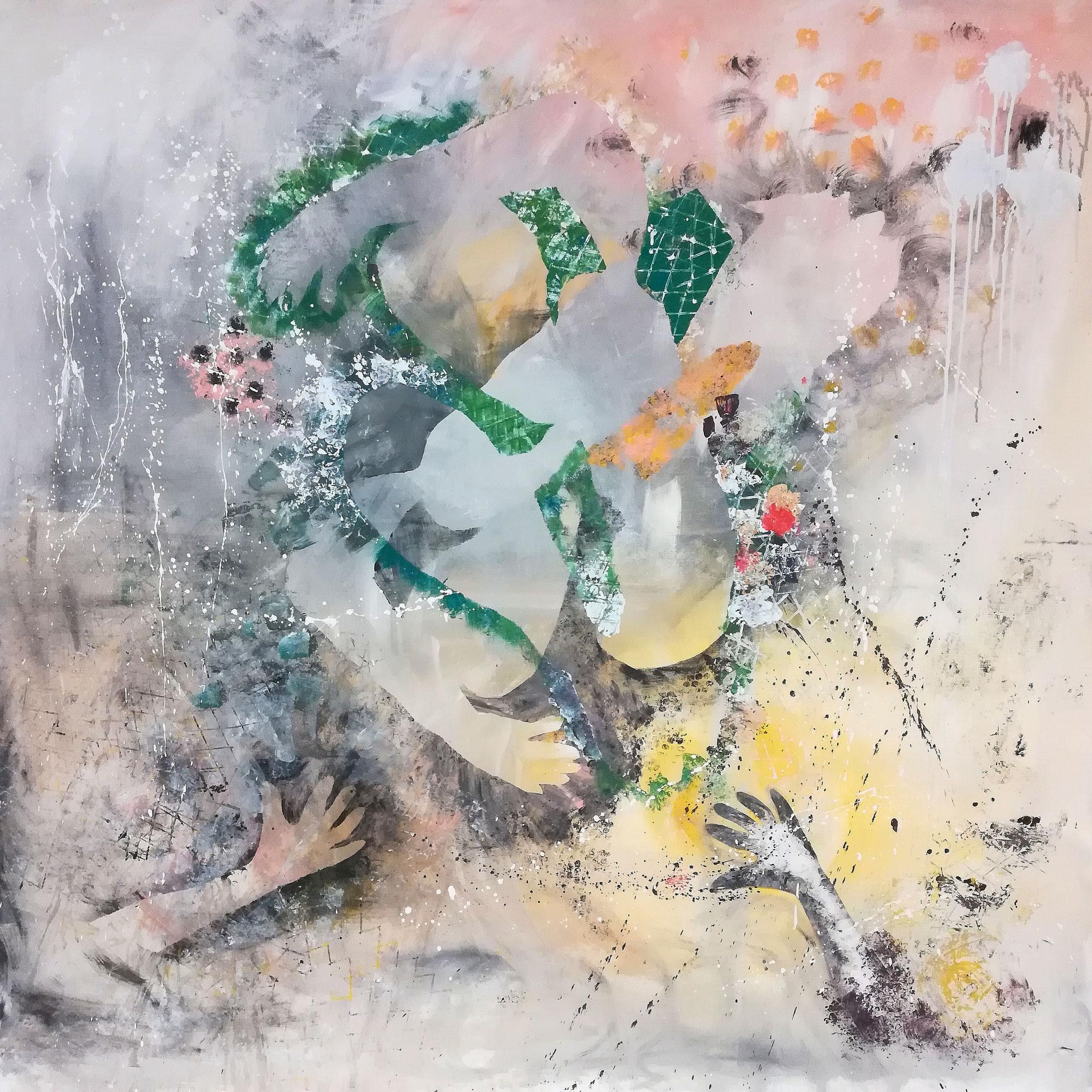No 3, 160x160, Acryl und Papier auf Leinwand, 2020