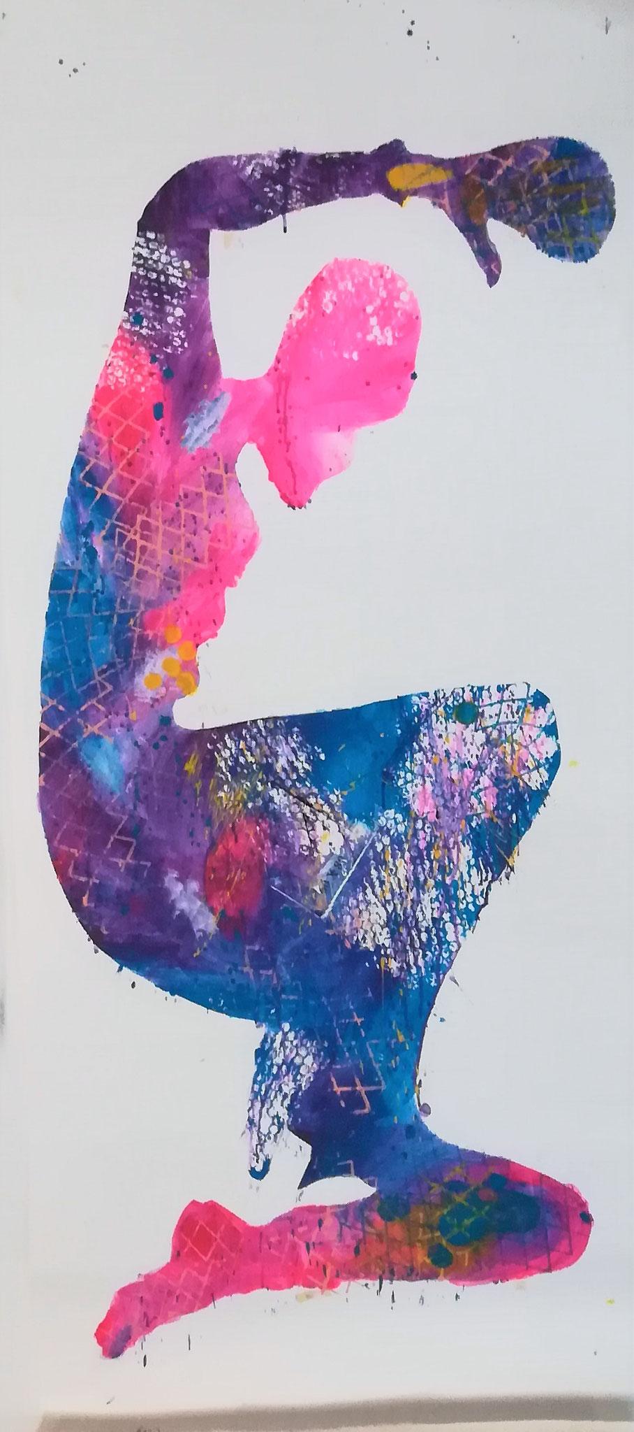 No 1  70x166, Acryl auf Papier, 2020