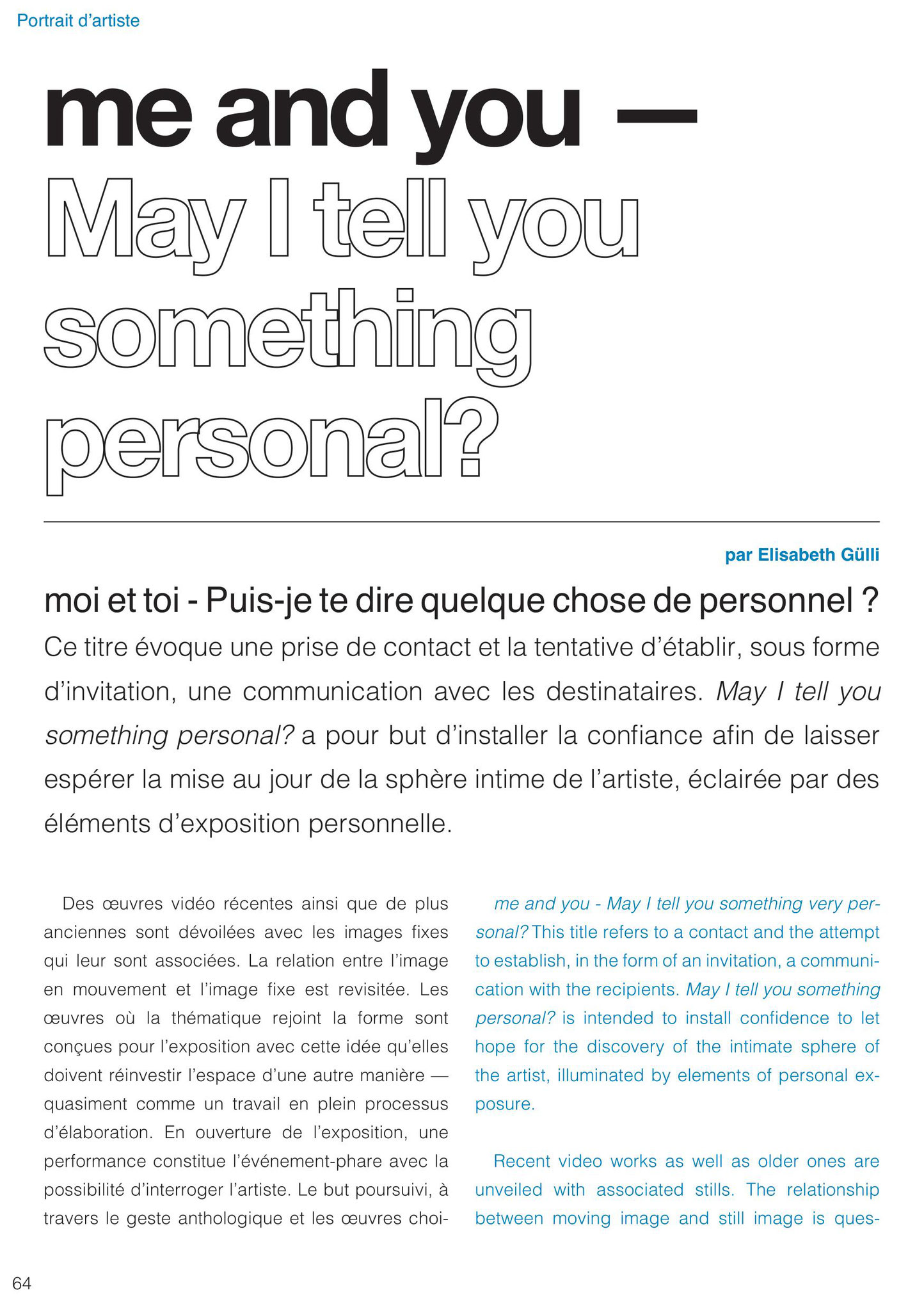 Elisabeth Guelli on me and you - May I tell you something personal?