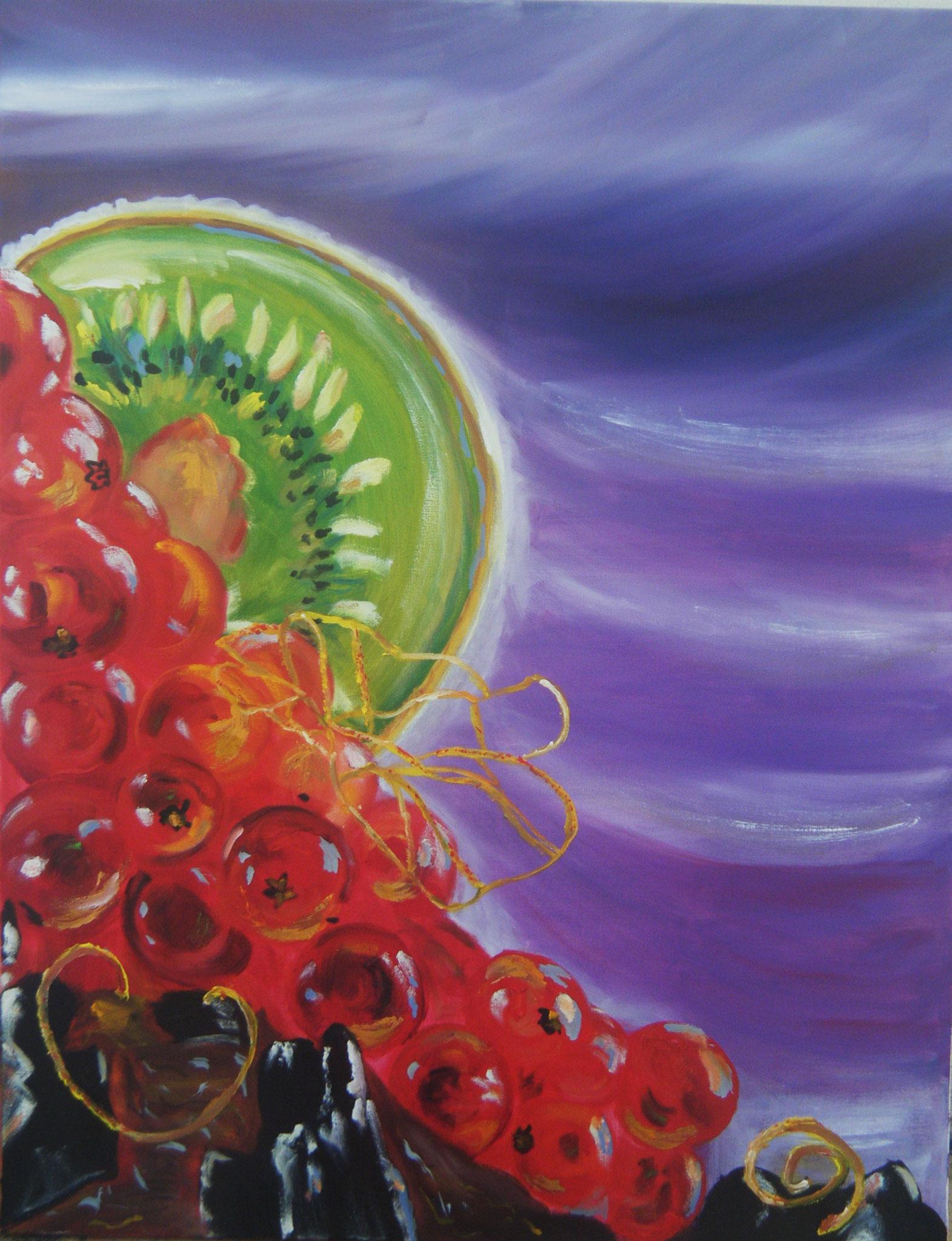 Les groseilles, peinture à l'huile