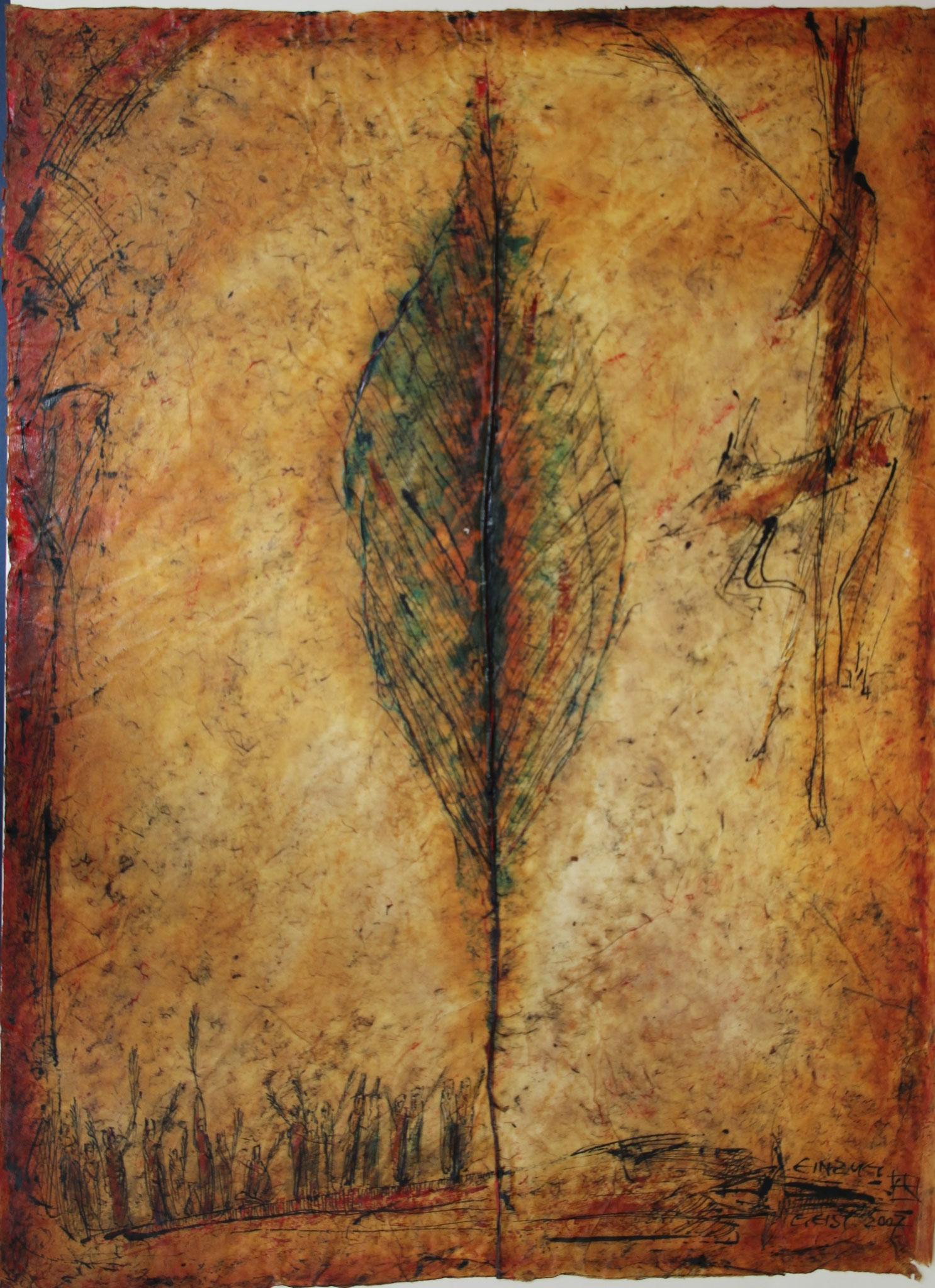 Peter Geist    EINZUG   Mischtechnik   67,0 x 50,0    2007