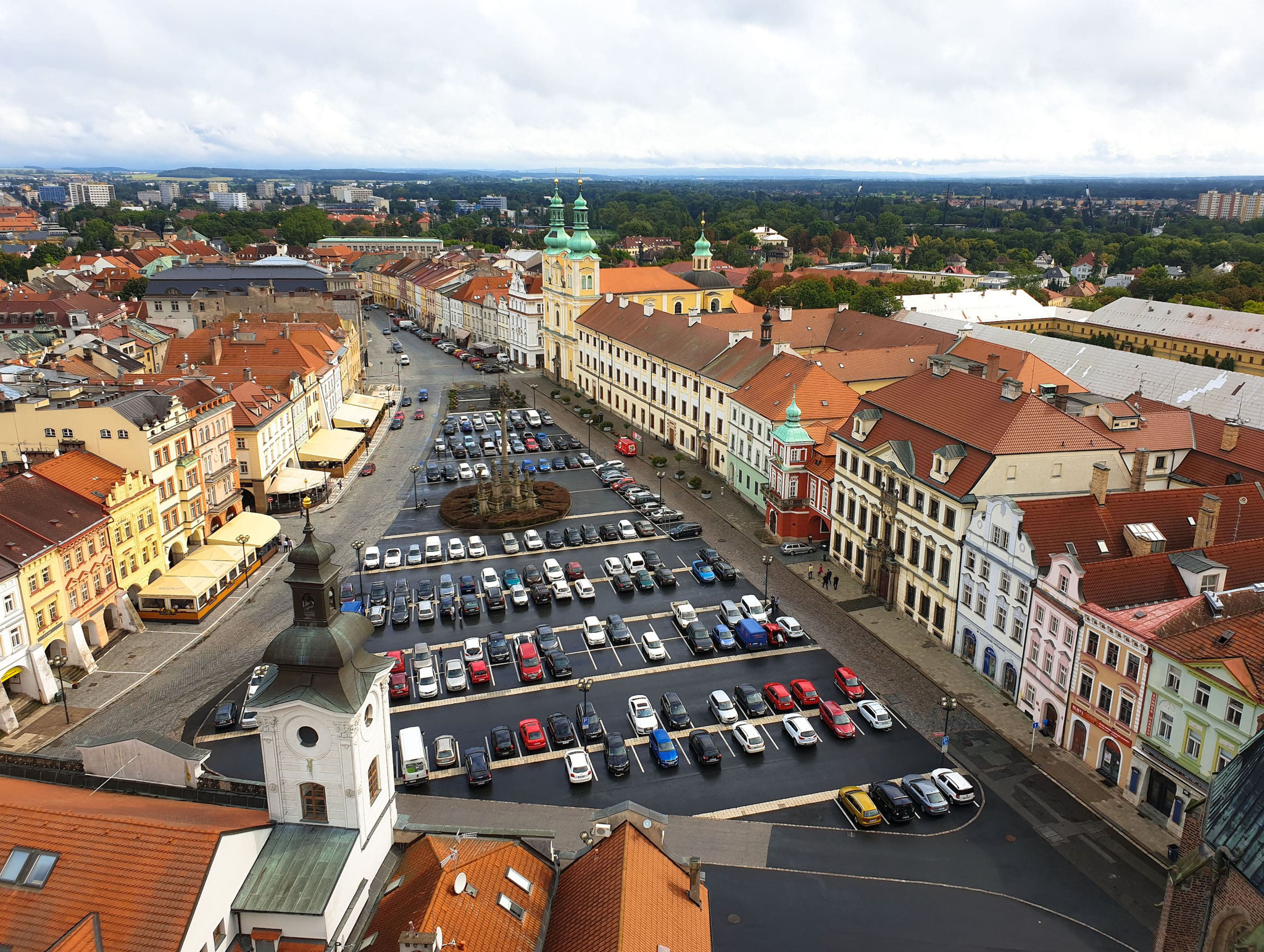 Hradec Králové, Weißer Turm, Aussicht zum Marktplatz