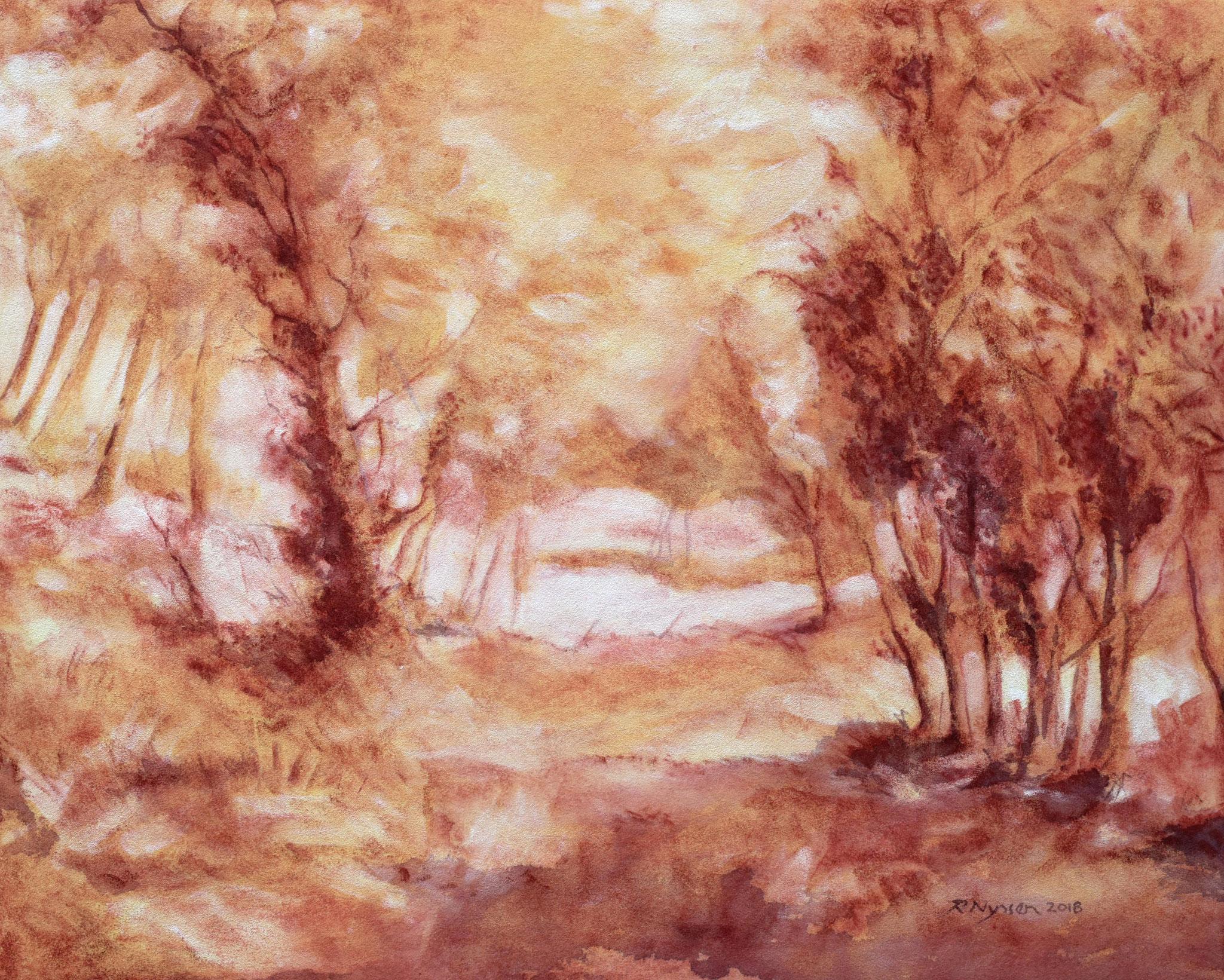 """""""Südliche Landschaft"""", Kreidezeichnung, 52 * 42 cm / Southern scenery, chalk"""