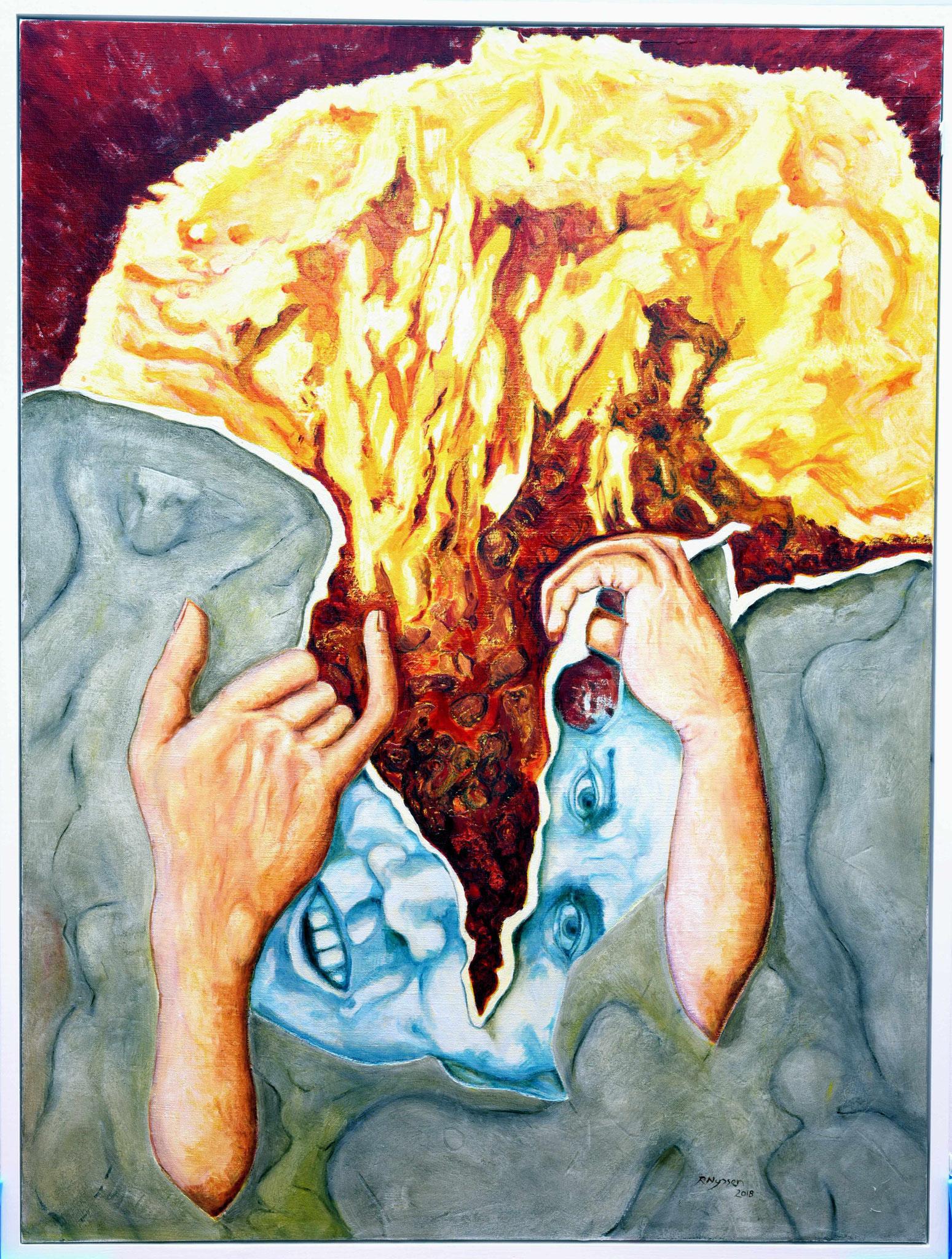 """Trisolaris III - Mentale Eskalation""-2018-Öl auf LW-160*120cm / (Mental excalation)-oil on canvas"