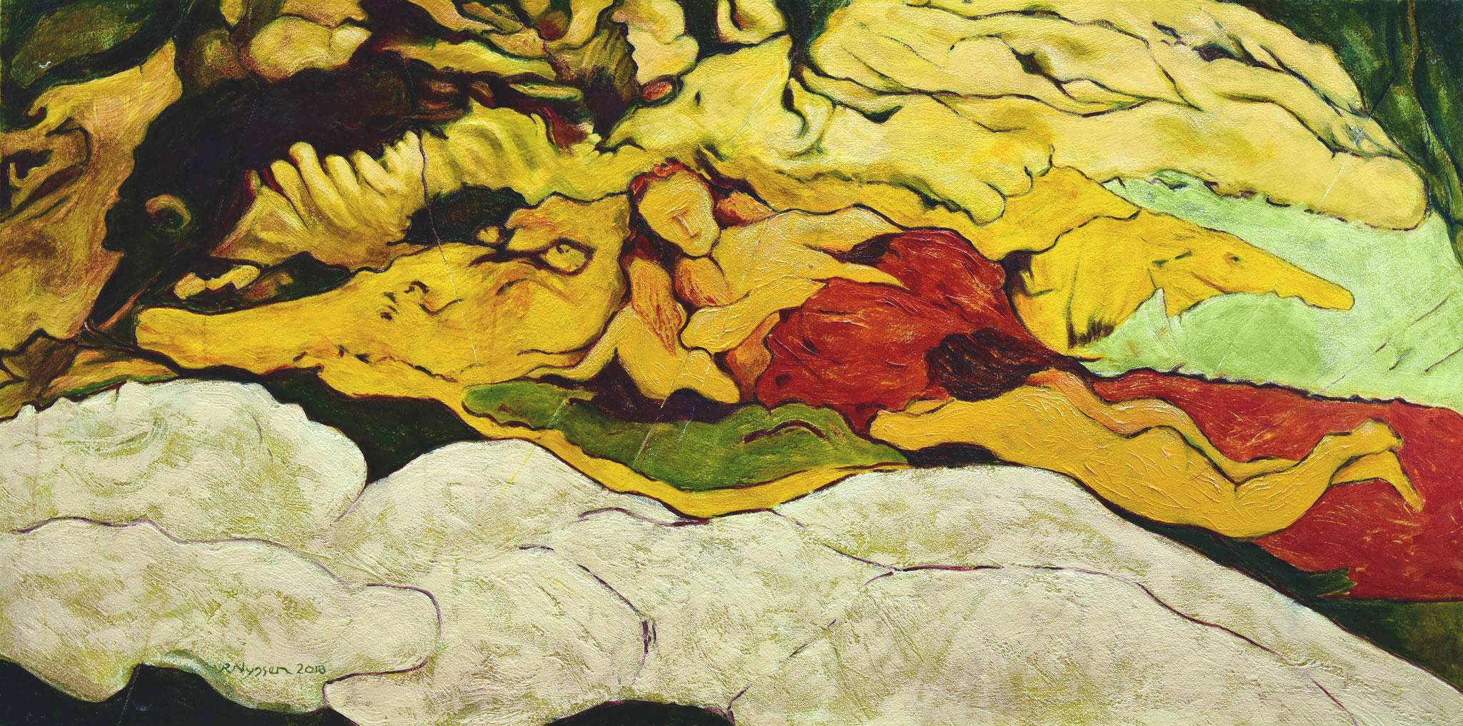 """Des Künstlers Höhle""-2018-Öl auf LW-80*160cm / The cave of the artist-oil on canvas"
