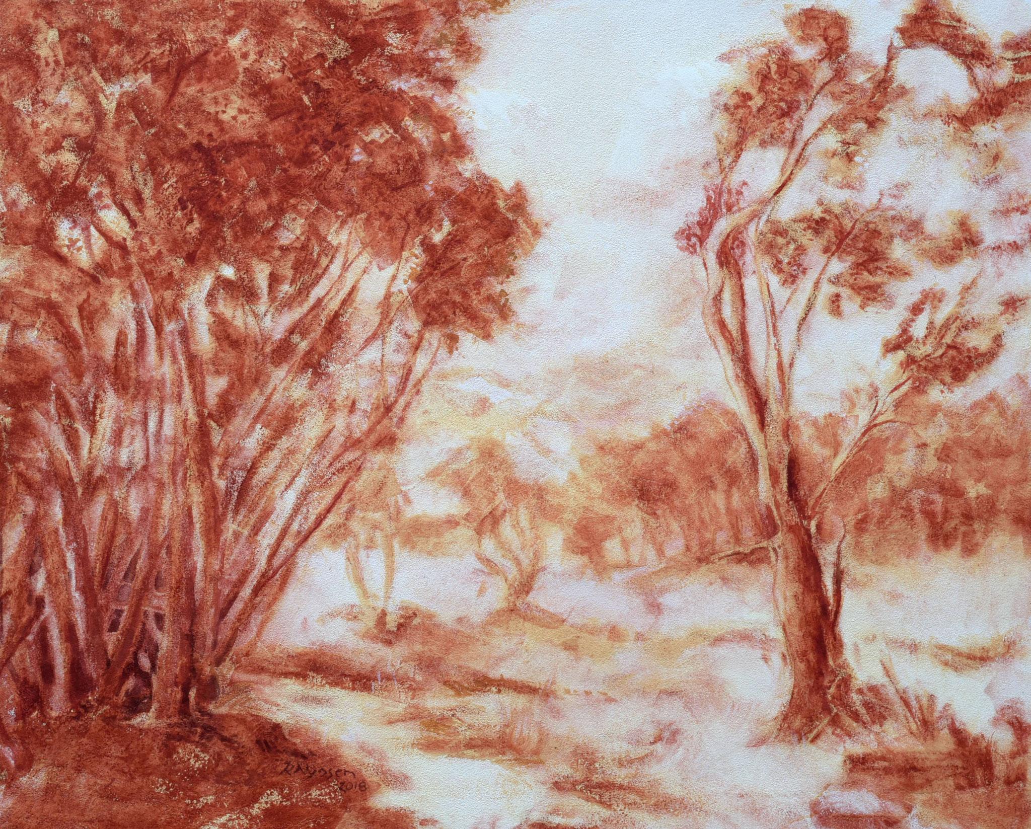 """""""Waldlichtung"""", Kreidezeichnung, 48 * 40 cm / Forest clearing, chalk"""