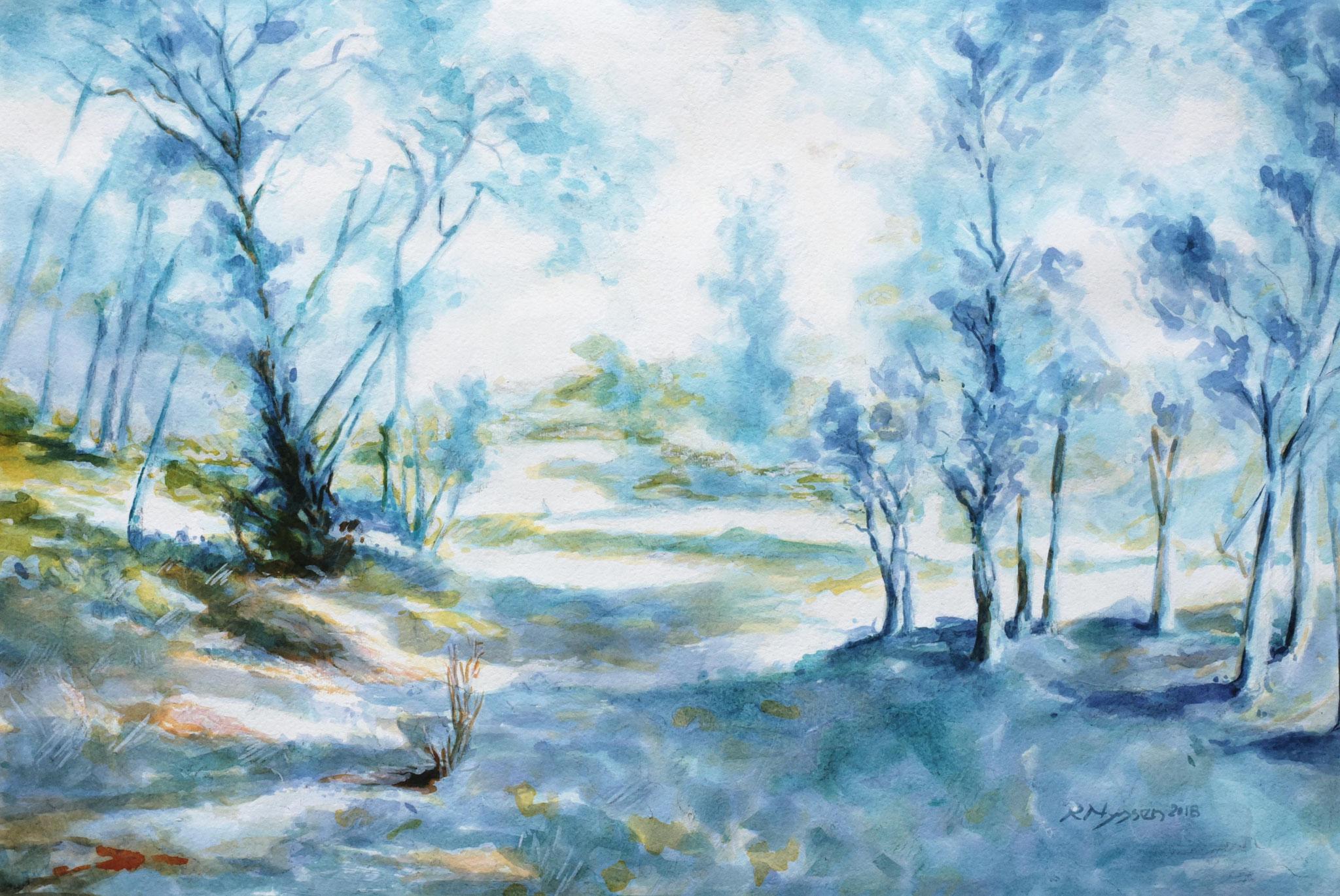 """Südliche Landschaft"", Aquarell, 50 * 34 cm / Southern scenery"