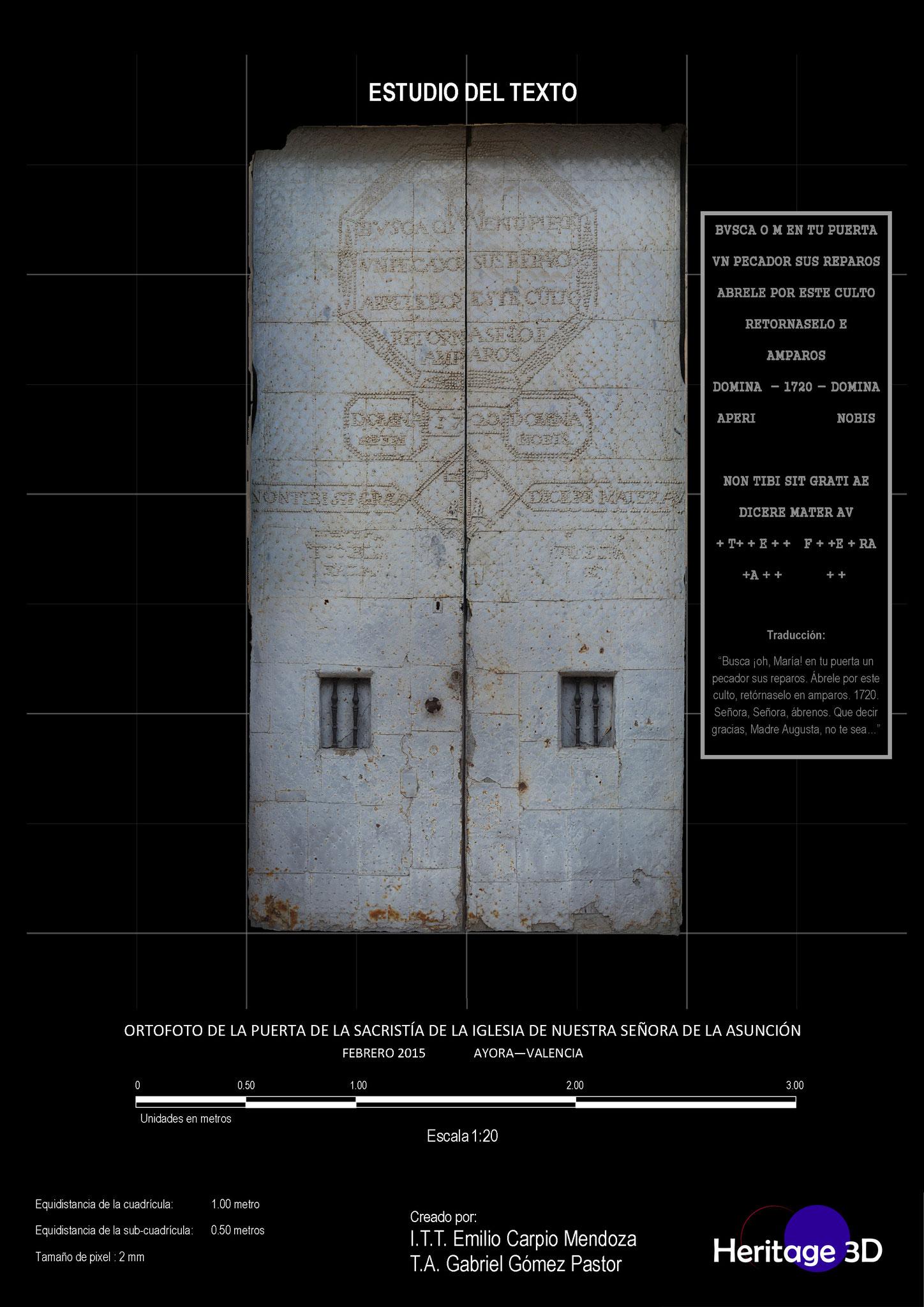 Texto de la puerta de entrada a la sacristía de Iglesia de la Virgen de la Asunción