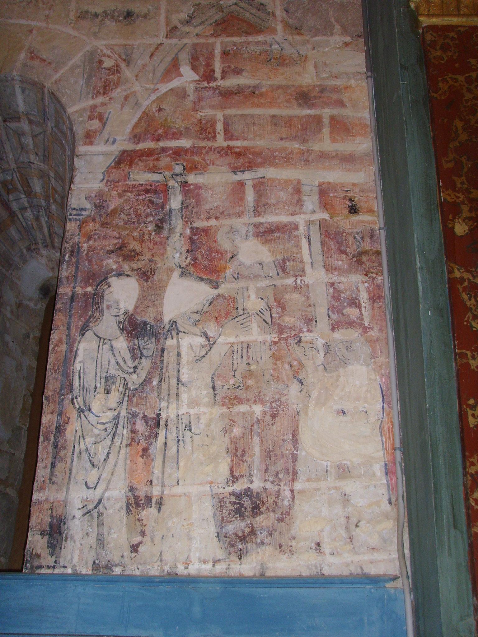 Peinture illustrant la légende du pendu-dépendu - église Saint-Pierre Castillon