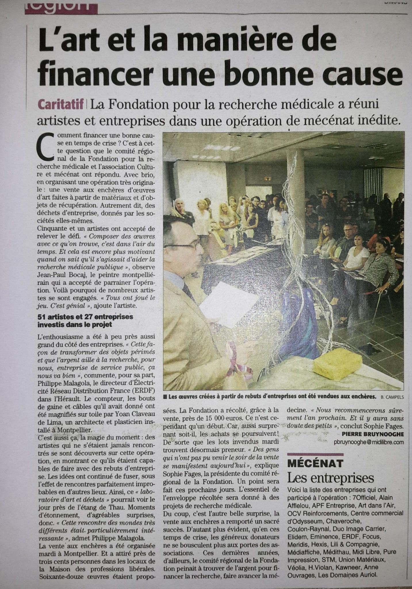 Midi-Libre _Vente aux Enchères pour la Recherche Médicale en L.R.