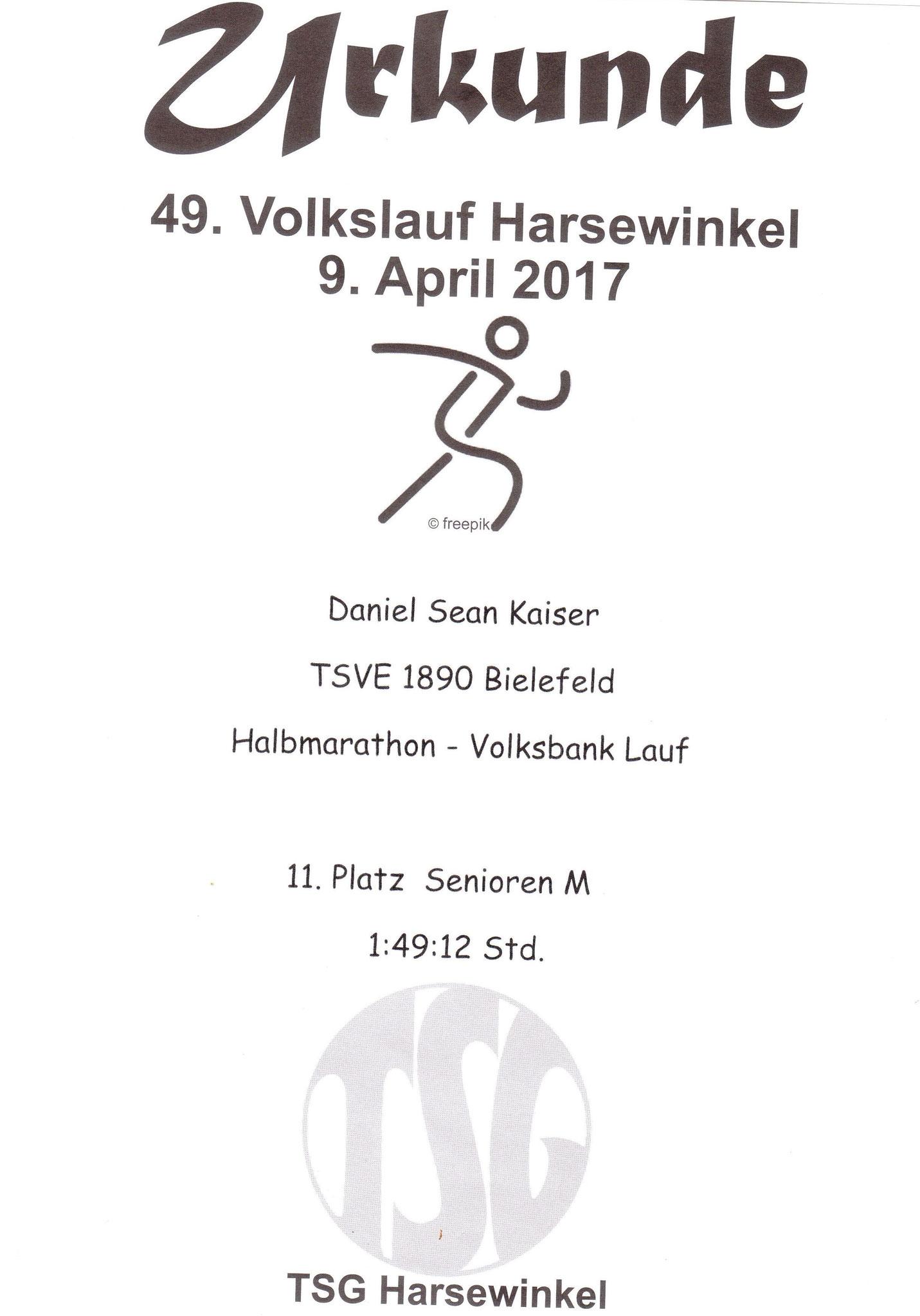 Volkslauf Harsewinkel (Halbmarathon) 2017 - Urkunde