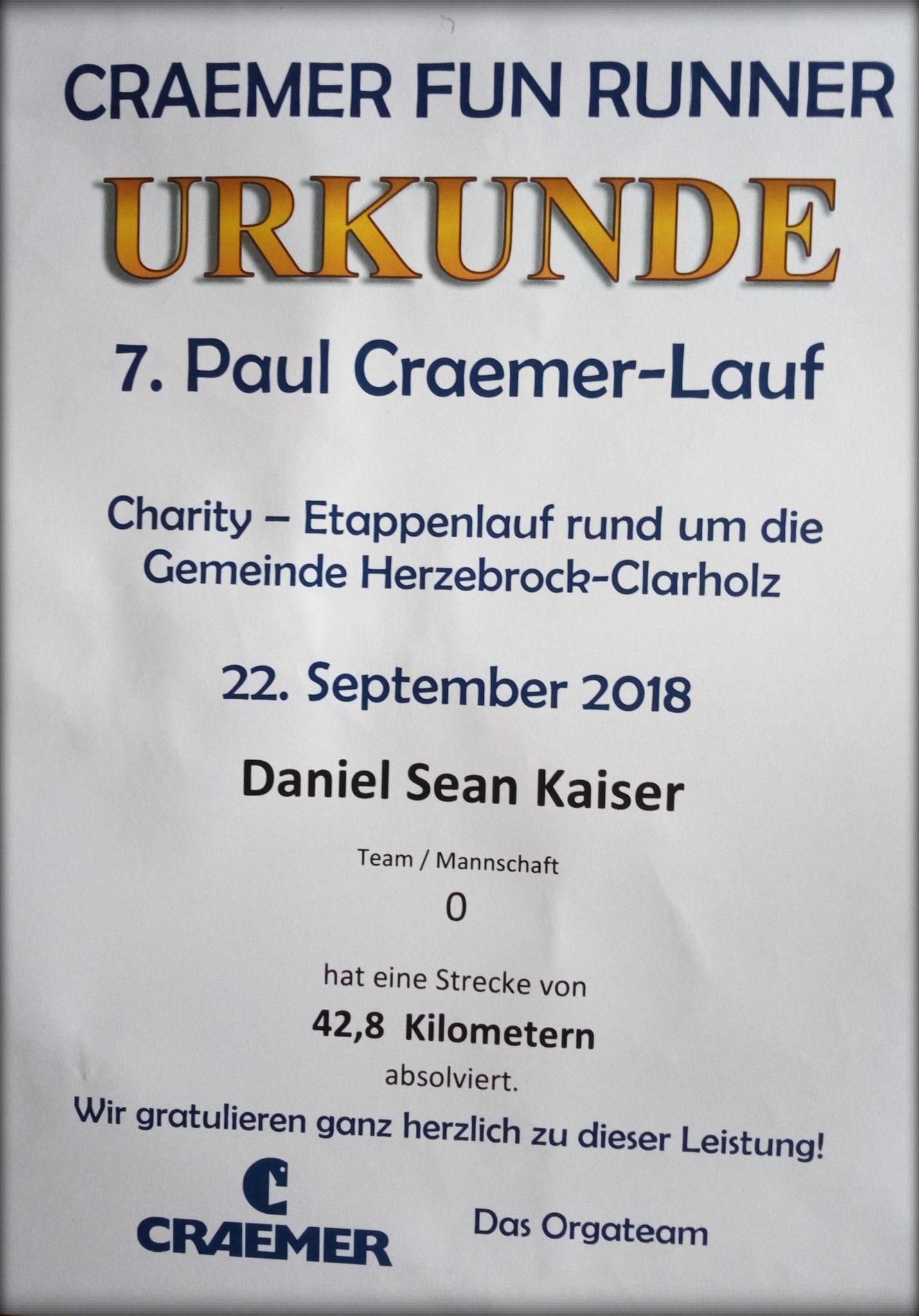 Craemer Fun Runner Marathon 2018 - Urkunde