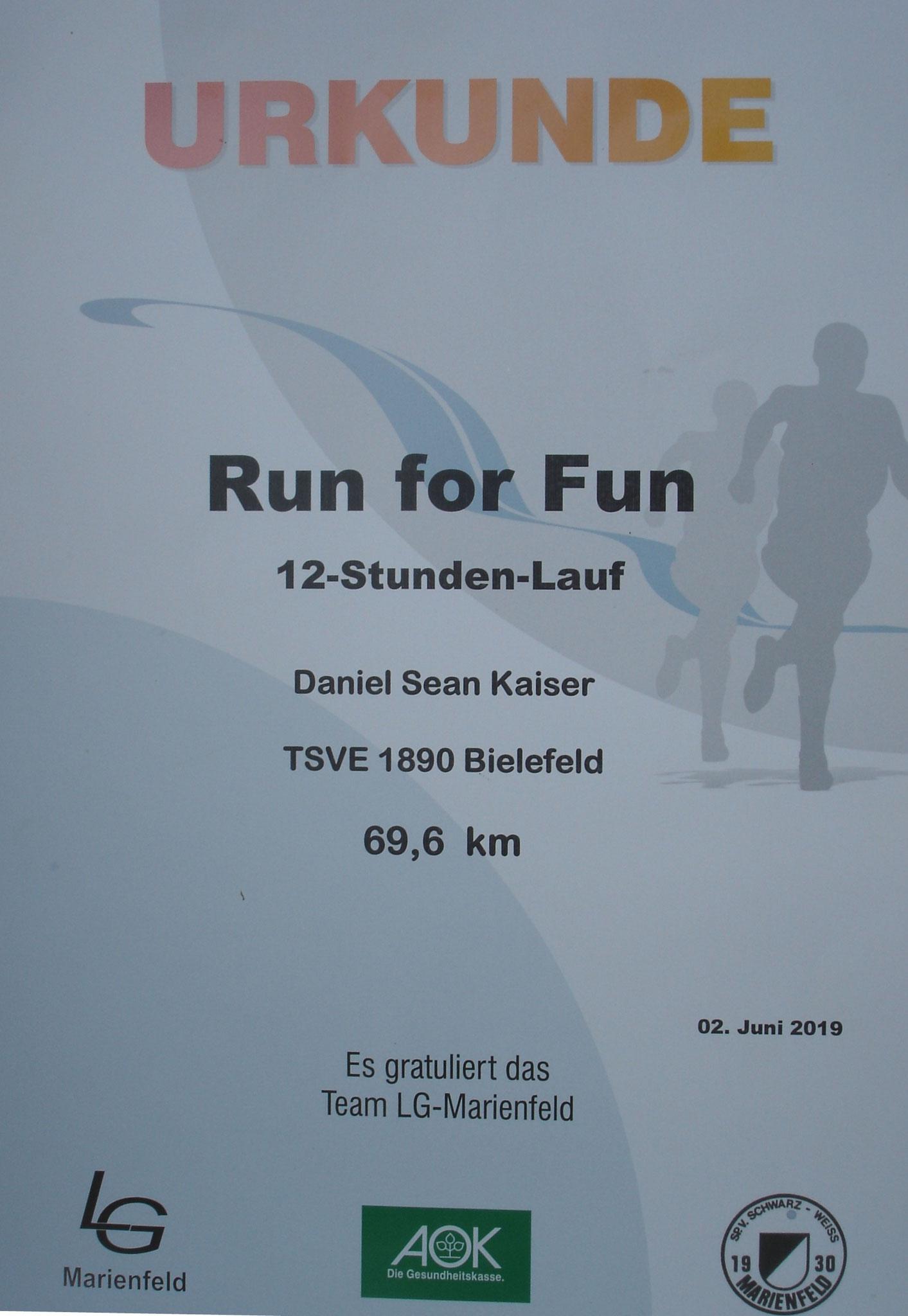 Run for Fun 2019 - Urkunde