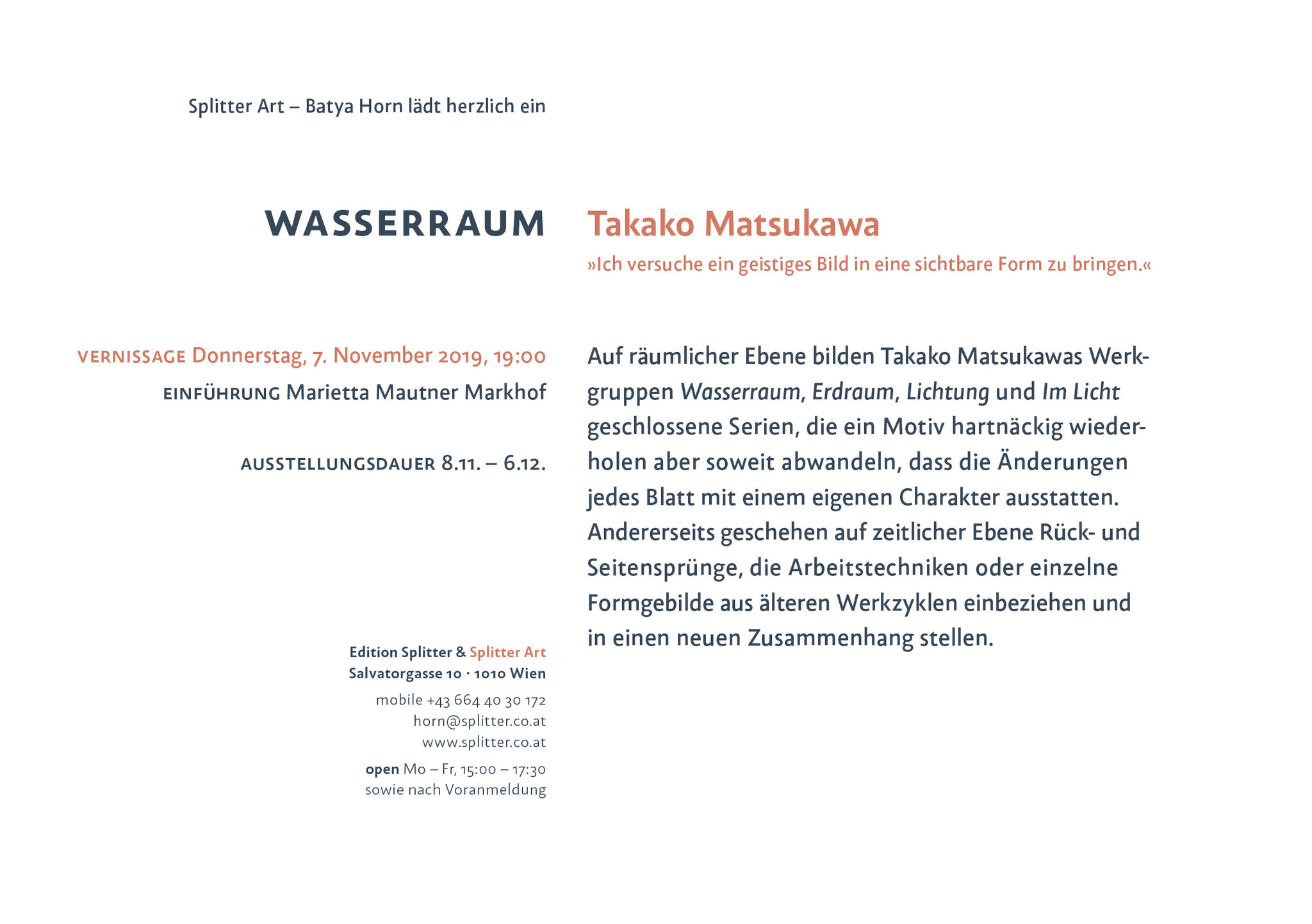 Takako Matsukawa – WASSERRAUM