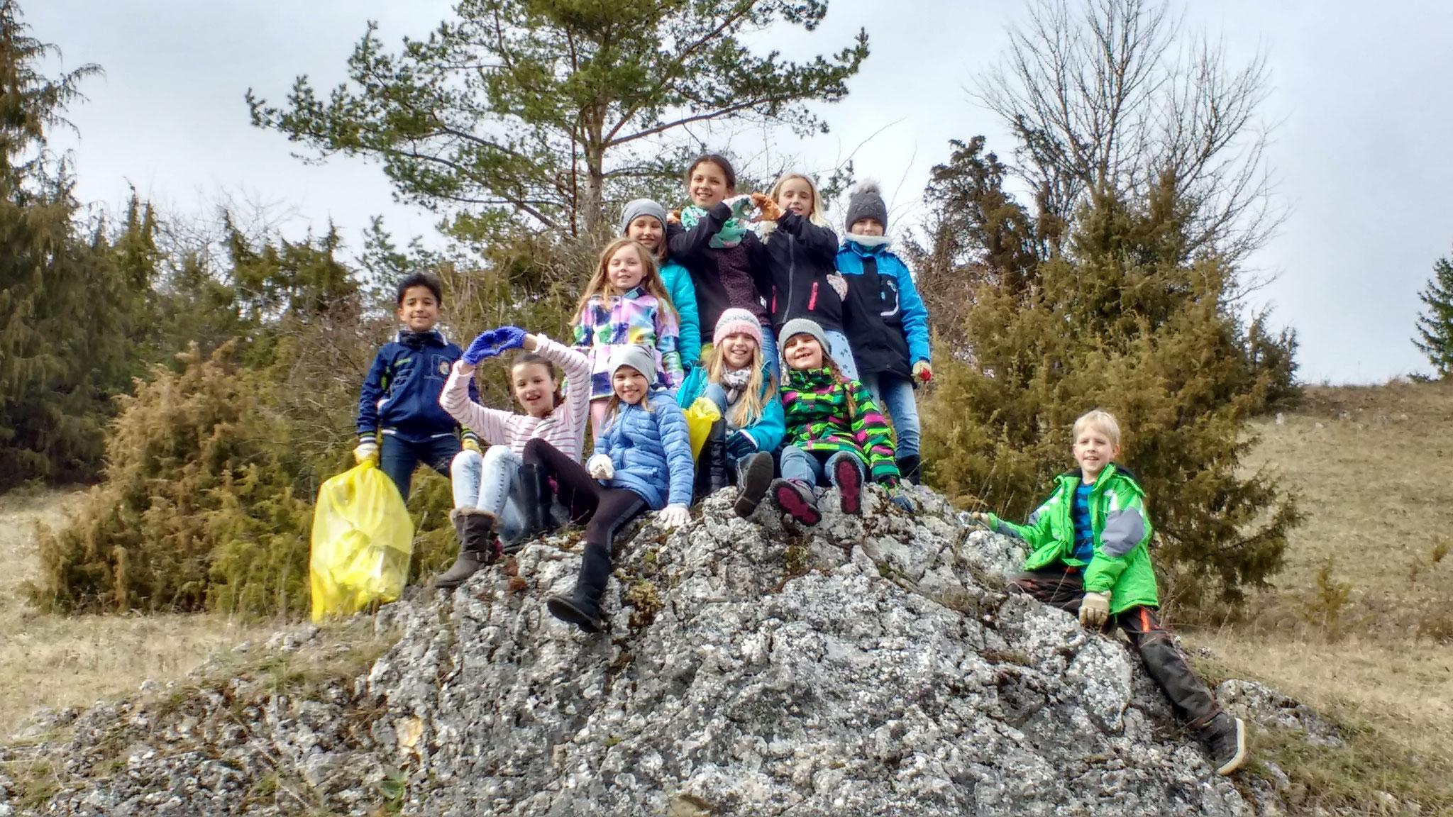 Emporgekletterte Müllsammler