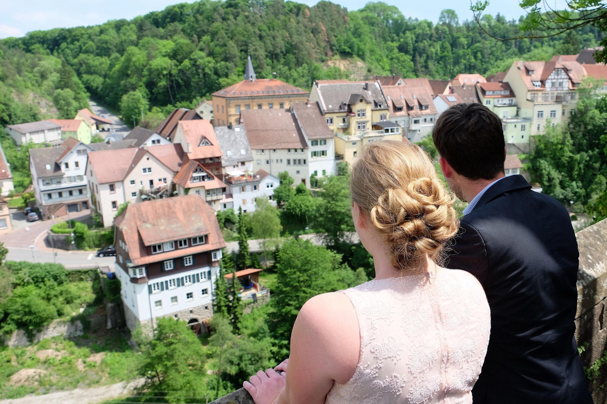 Aussicht vom Schloss Haigerloch auf das Haigerlocher Städtle
