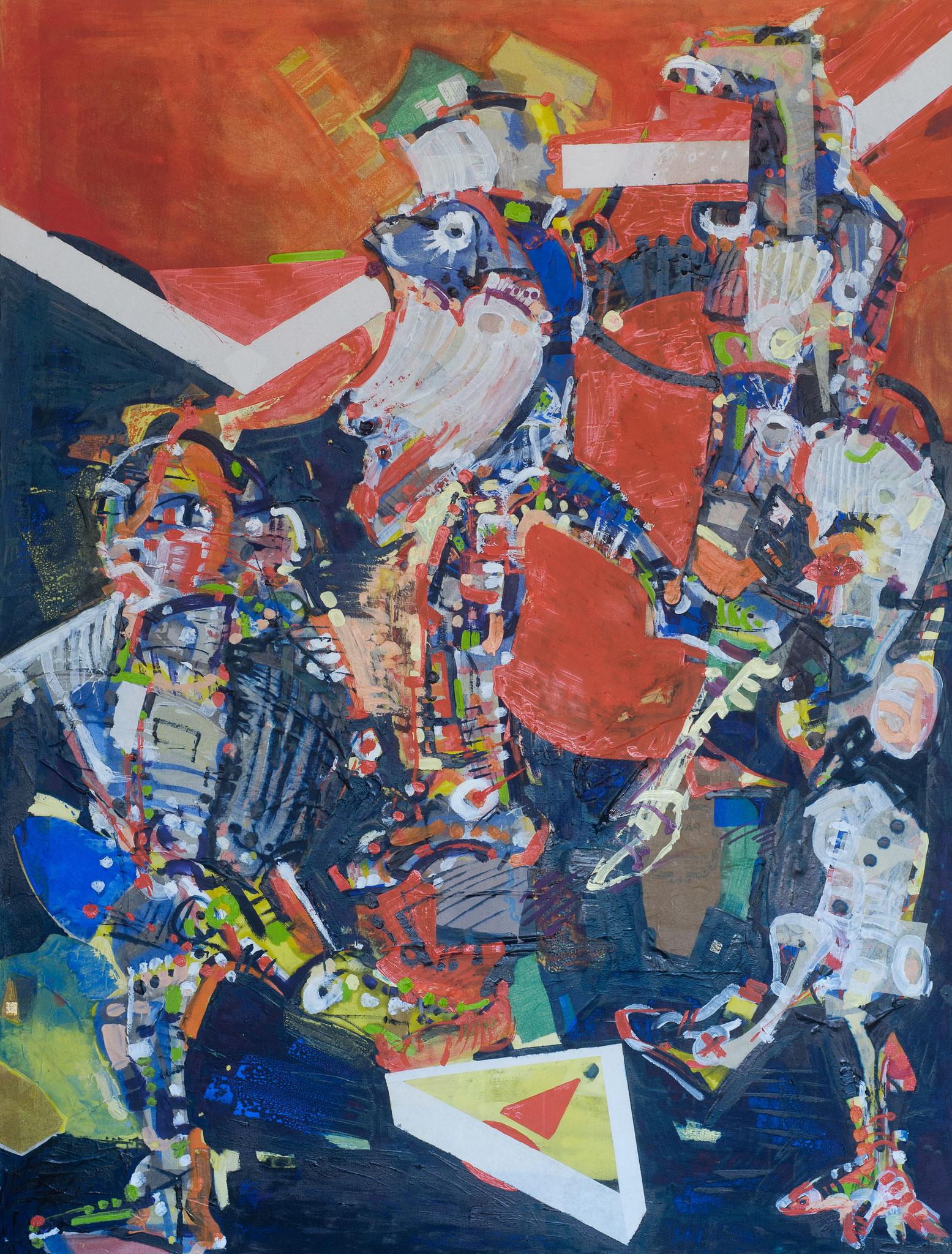 """Die Zugezogenen"" (2012, Leinwand, Oel, Seidenpapier, HxB: 210x160cm)"