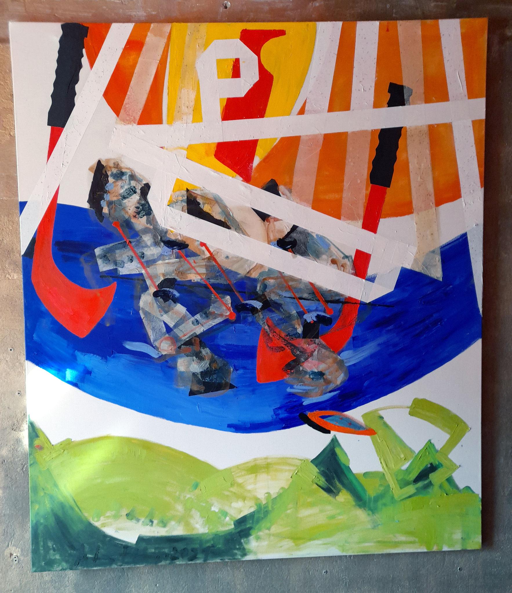 """Tahiti"" (2021, Leinwand, Oel, Seidenpapier, HxB:  175x150cm)"