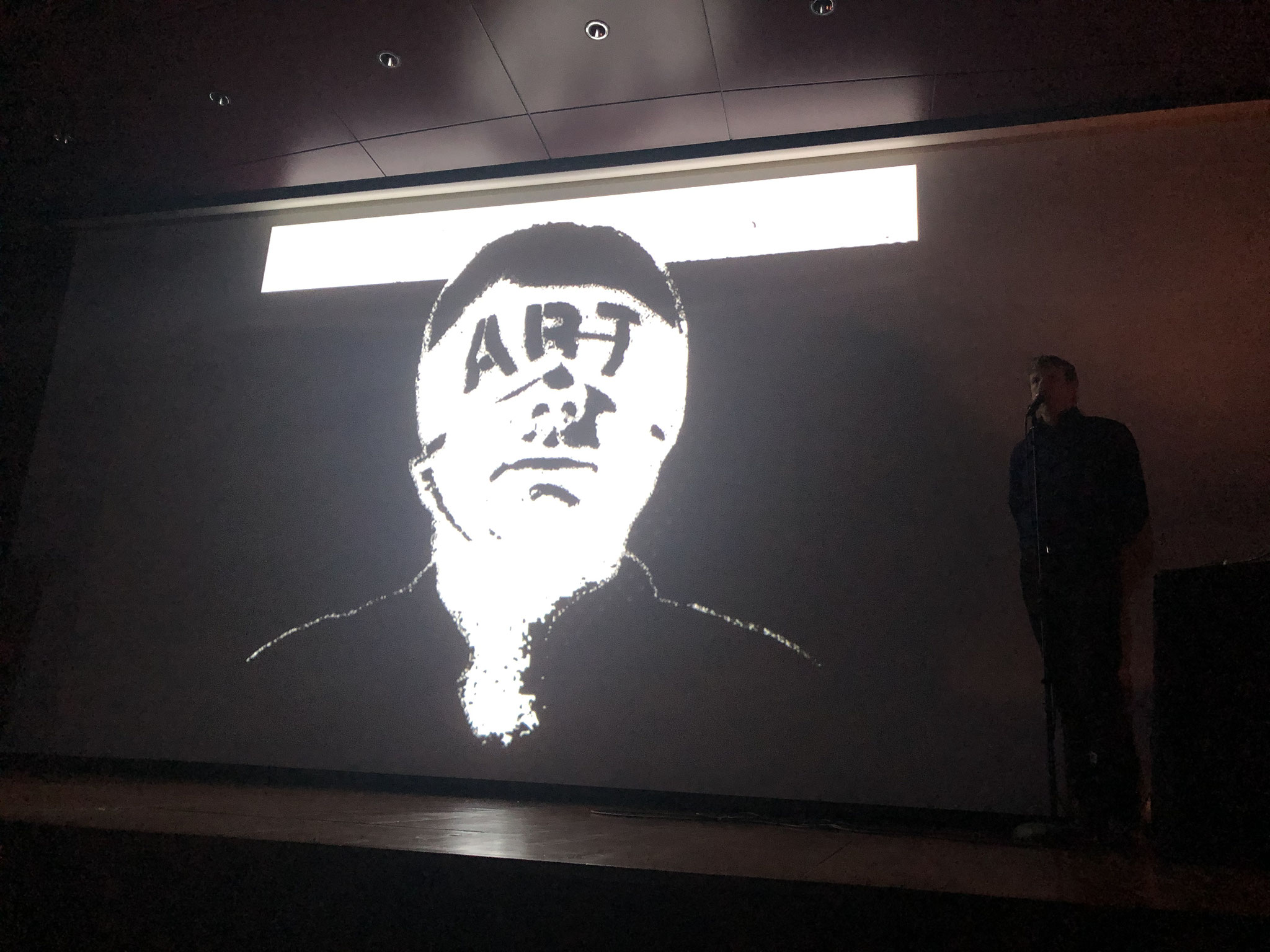 Projection during the live concert by Club Moral on occasion of the homage to Guy Schraenen, Museum Reina Sofia, Madrid 2020