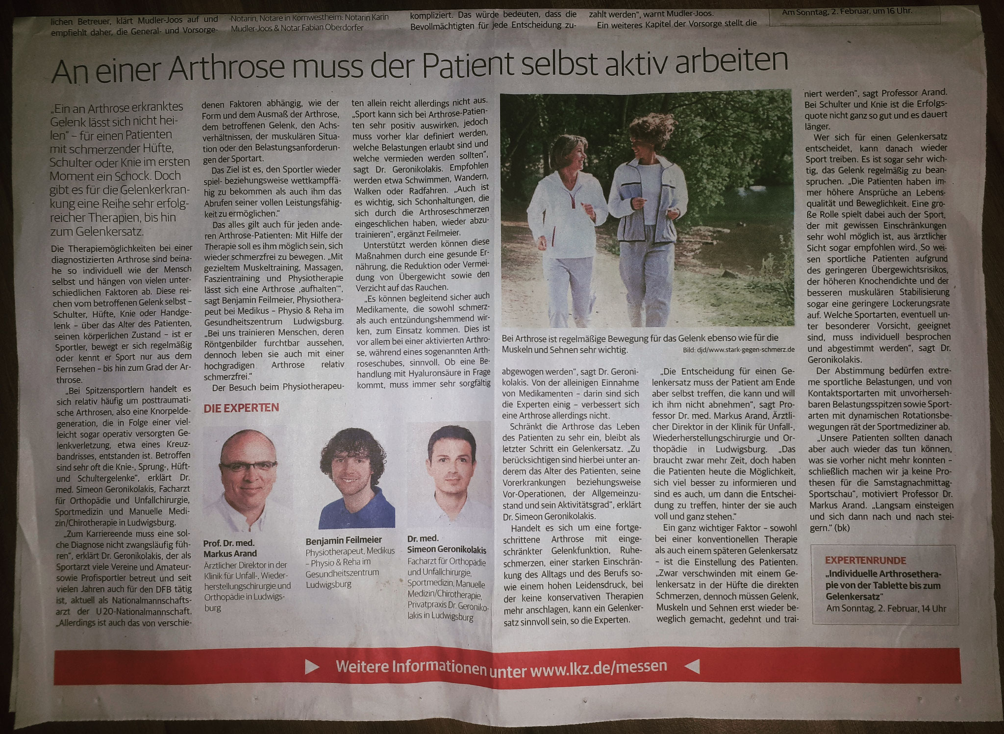 Dr. Geronikolakis in der LKZ zum Thema Arthrose