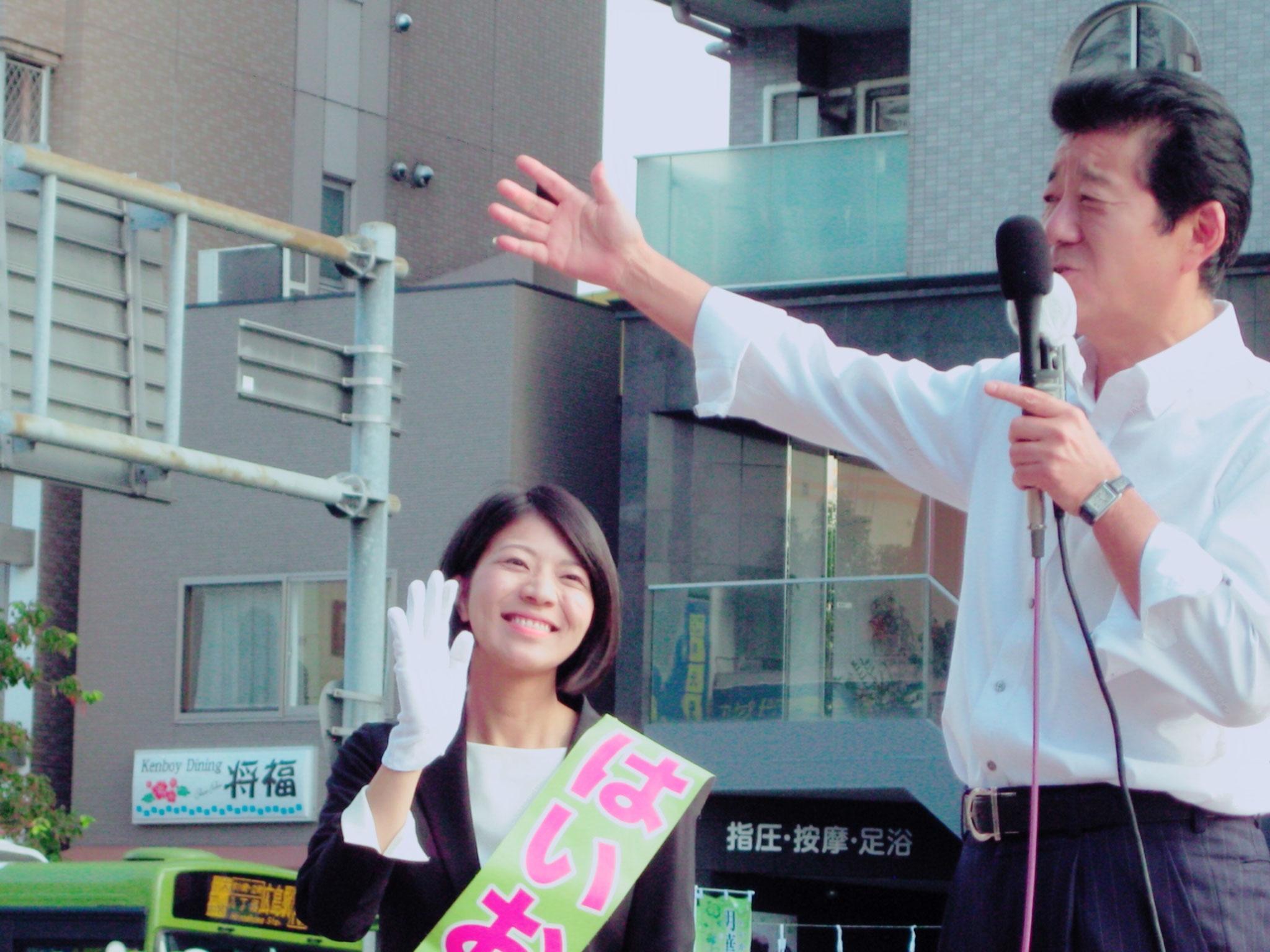 松井一郎代表が応援に駆けつけてくれました。(H29衆院選)