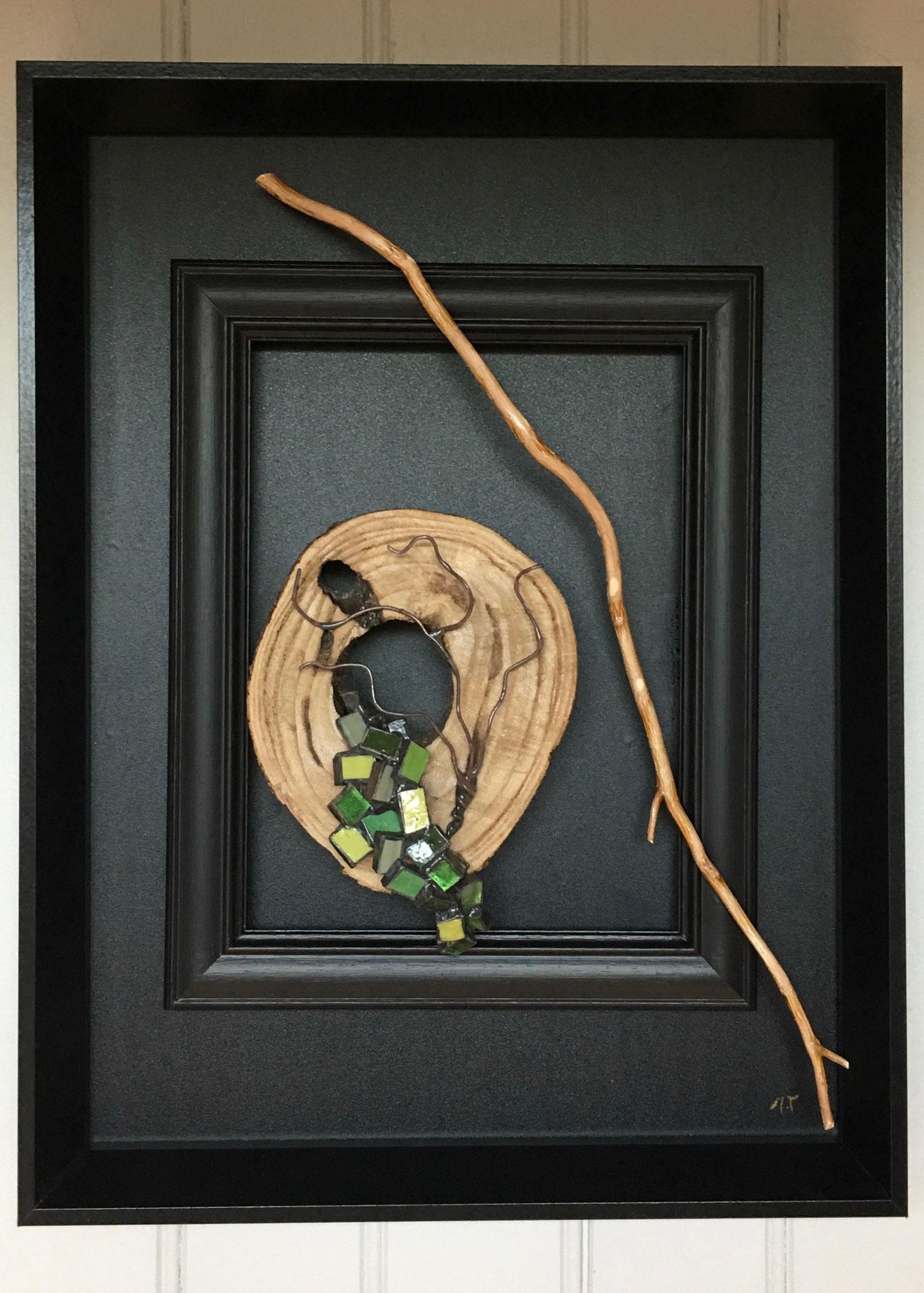 Tableau rondin de bois et cascade tesselles de verre Murano