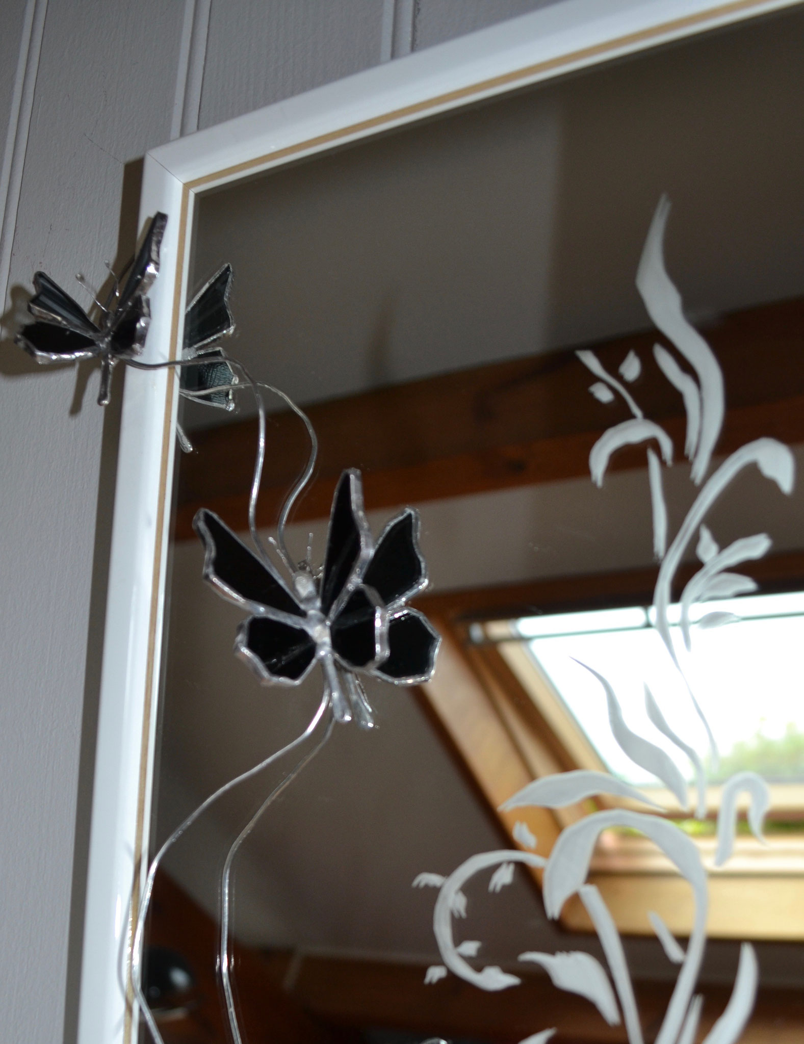 """Miroir """"sablage"""" et le papillons en Tiffany  Détail"""