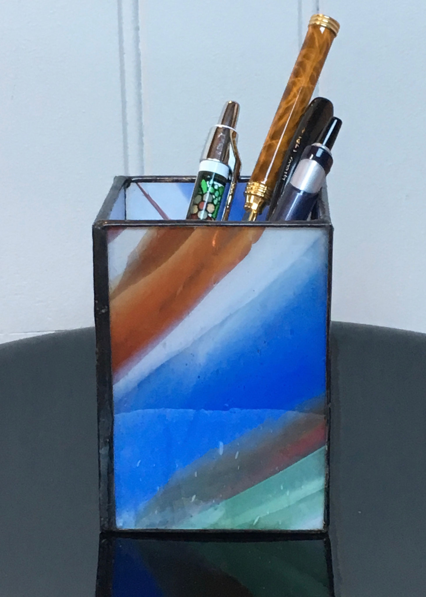 Pot à crayons réalisé en tiffany