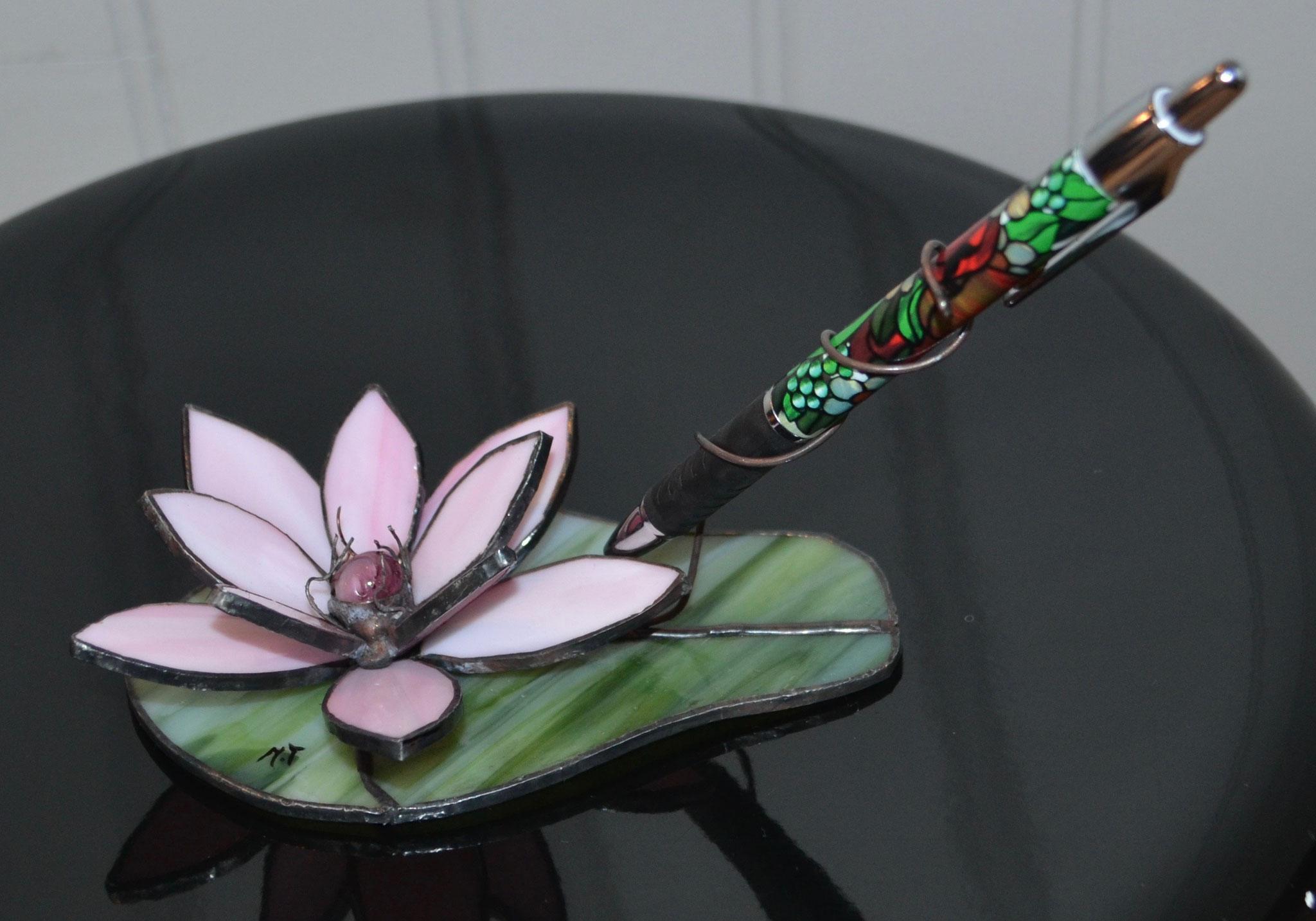 Porte-stylo fleur rose Tiffany