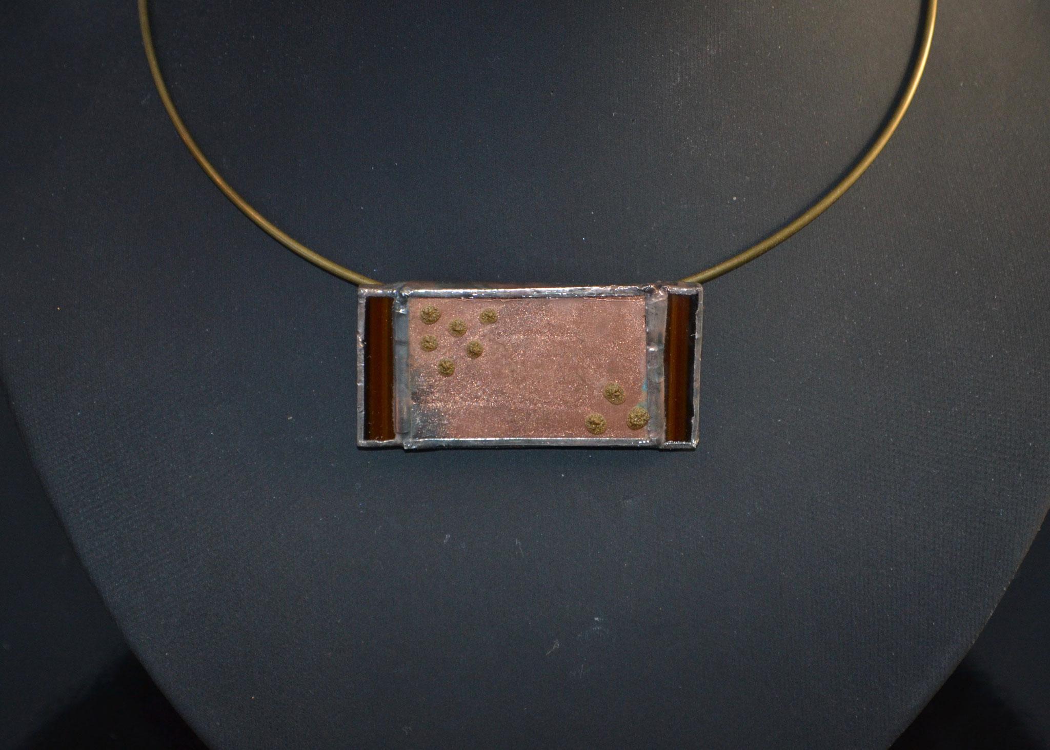 Pendentif Tiffany poudre de cuivre Détail    Ref: PE4