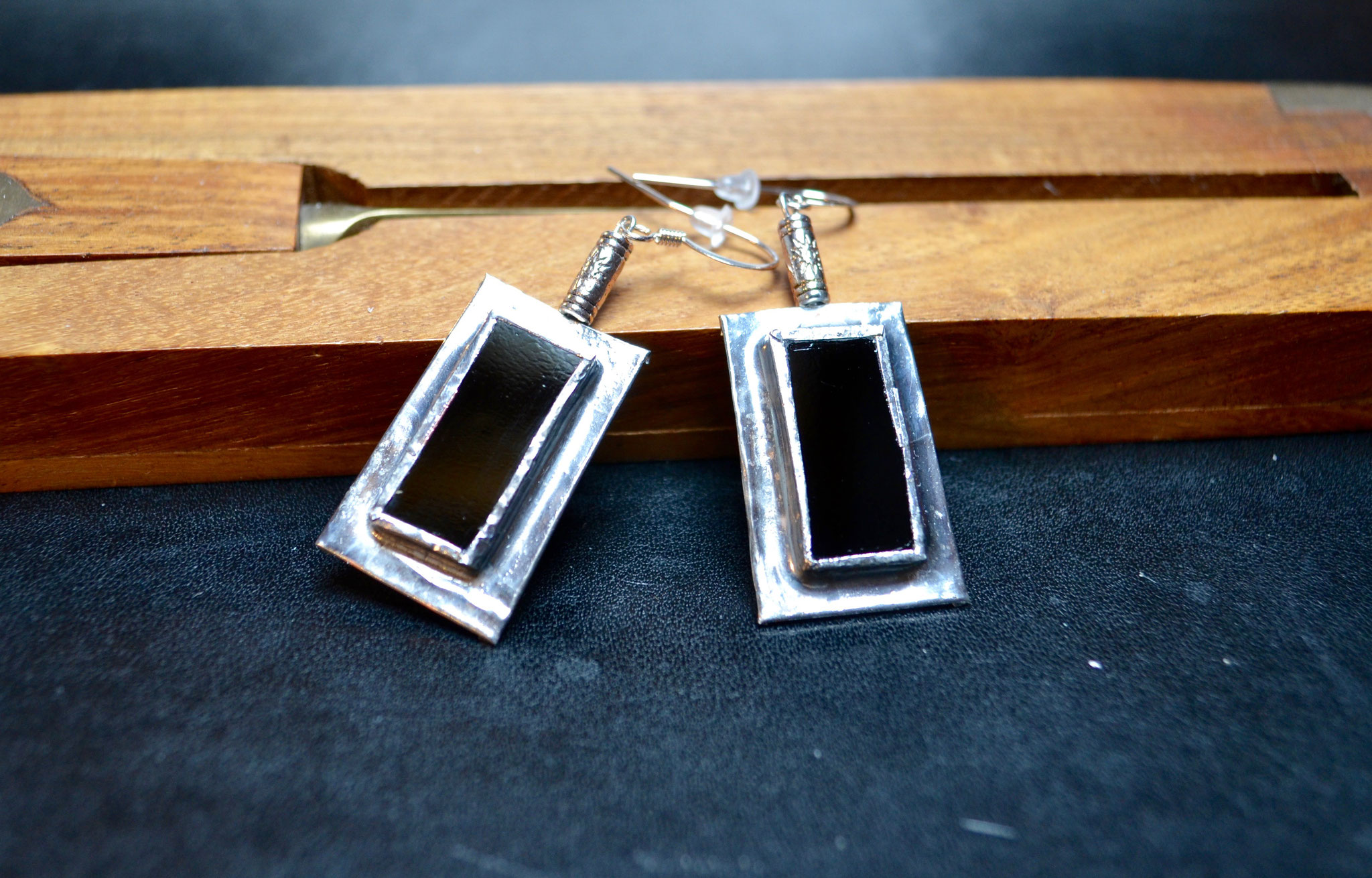 Boucles d'oreilles métal et verre