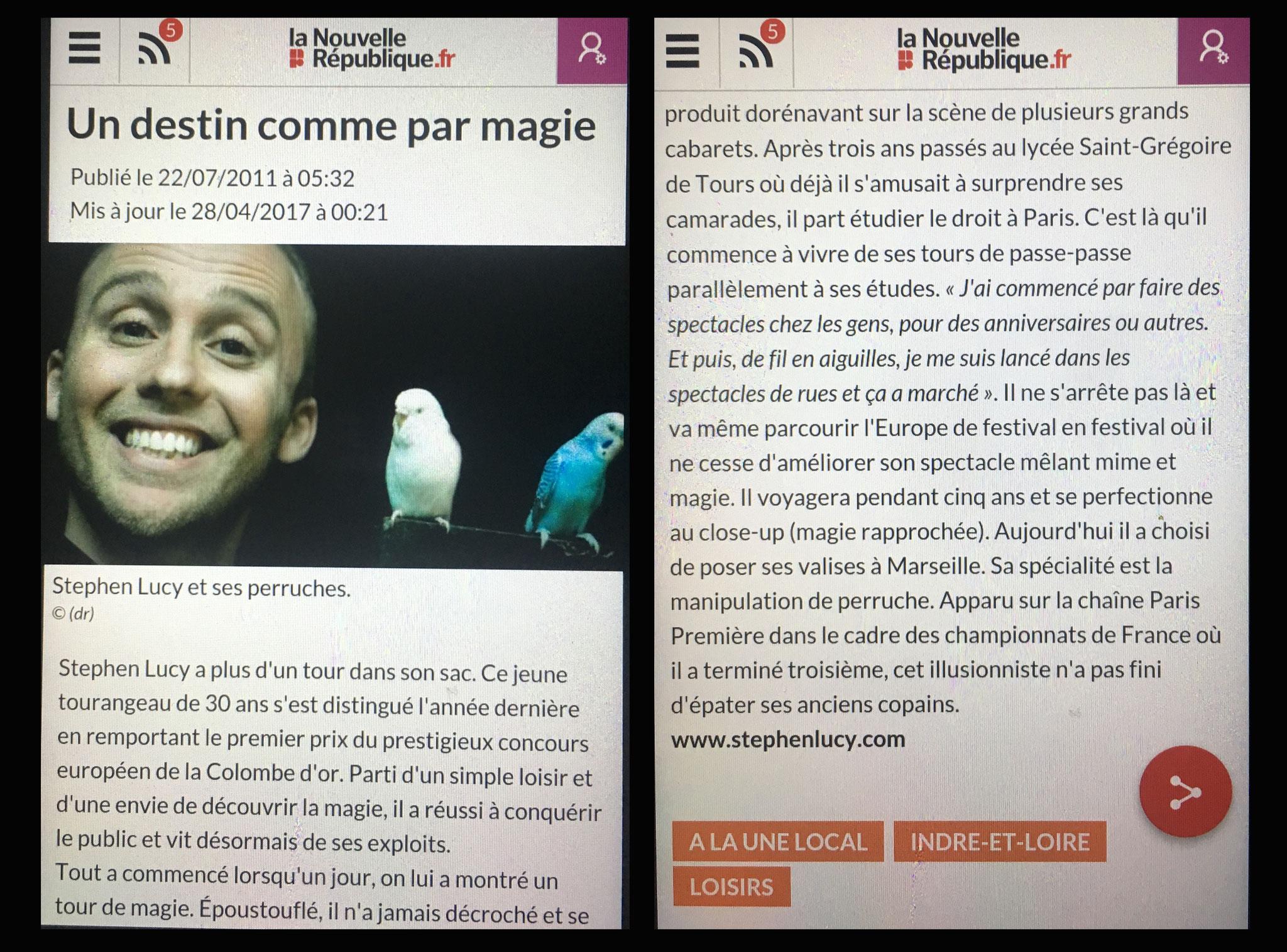 Article de la Nouvelle République-Stephen Lucy- Magicien de Tours-2011