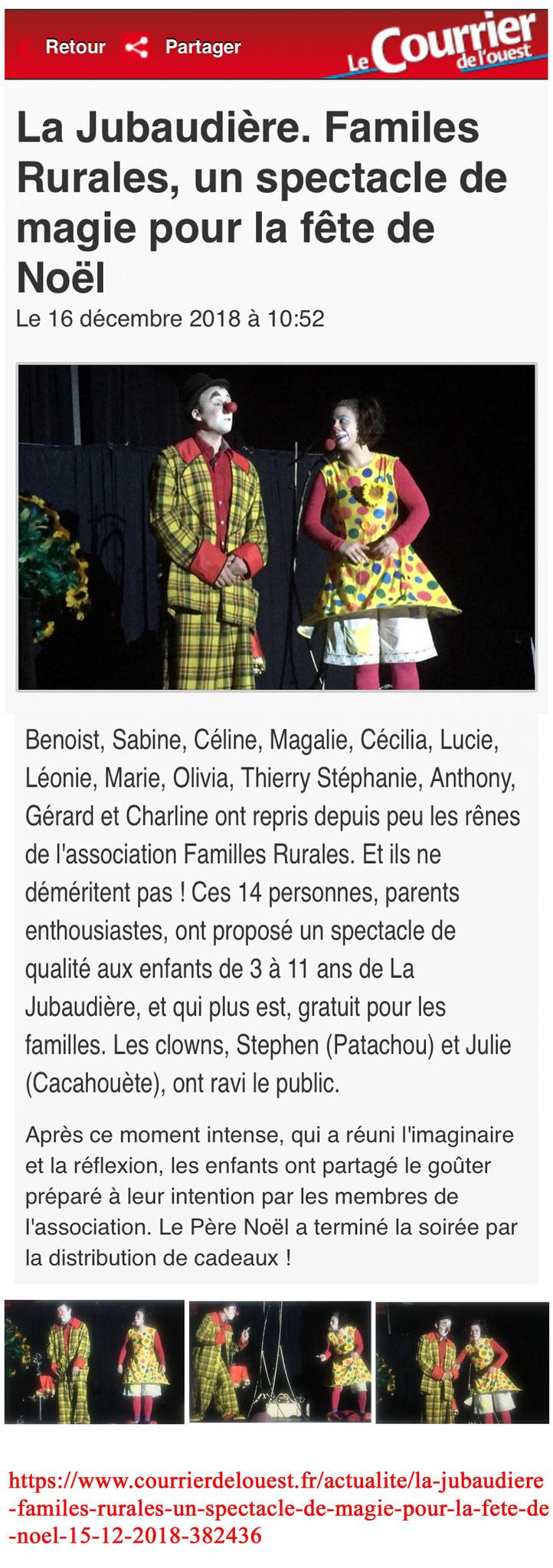 Article Les Clowneries Magiques-Spectacle de Magie et Clowns- Le courrier de l'ouest- Décembre 2018