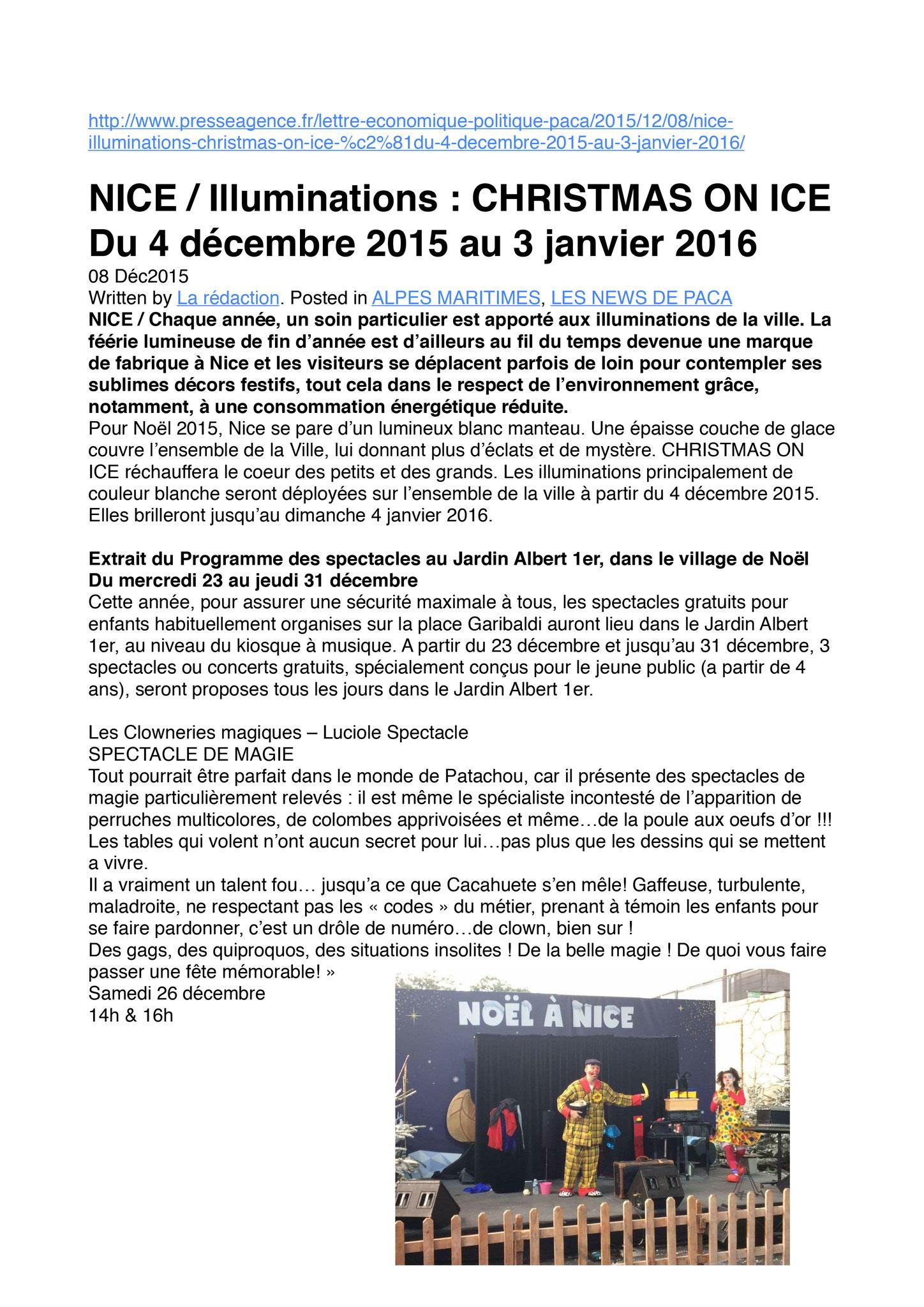 Extrait du site Nice-Ville-Spectacle Les Clowneries Magiques- Marché de Noël 2015 et 2016