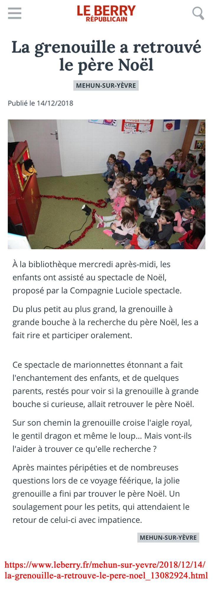 Article La Grenouille à Grande Bouche à la Recherche du Père Noël-Marionnettes-Le Berry Républicain- Décembre 2018