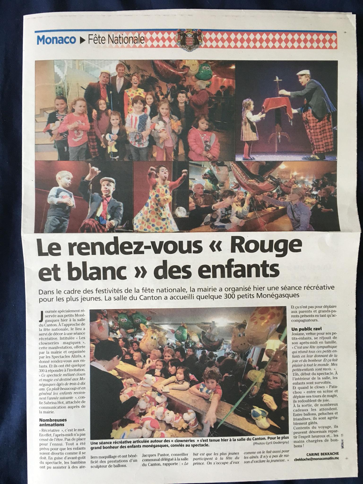Article du Nice Matin-Fête de Monaco-Les Clowneries Magiques-Stephen et Julie Lucy-Monaco-2012