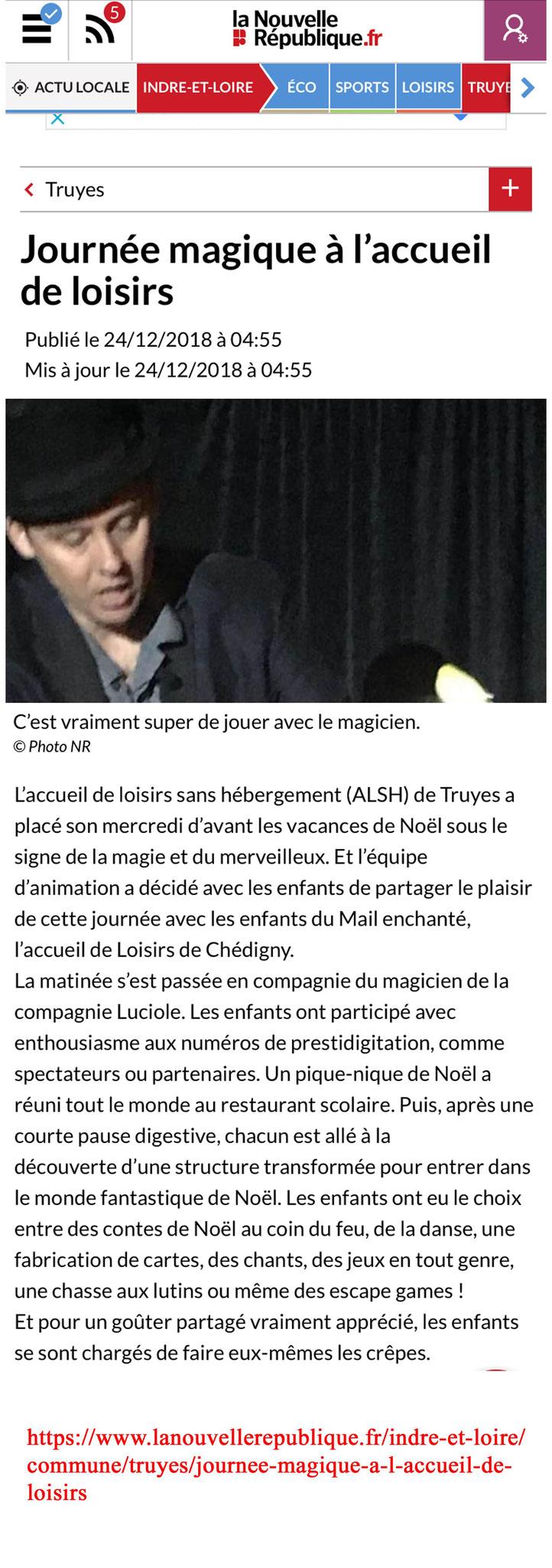 Article Poussière d'étoile- Magicien-La nouvelle République- Décembre 2018