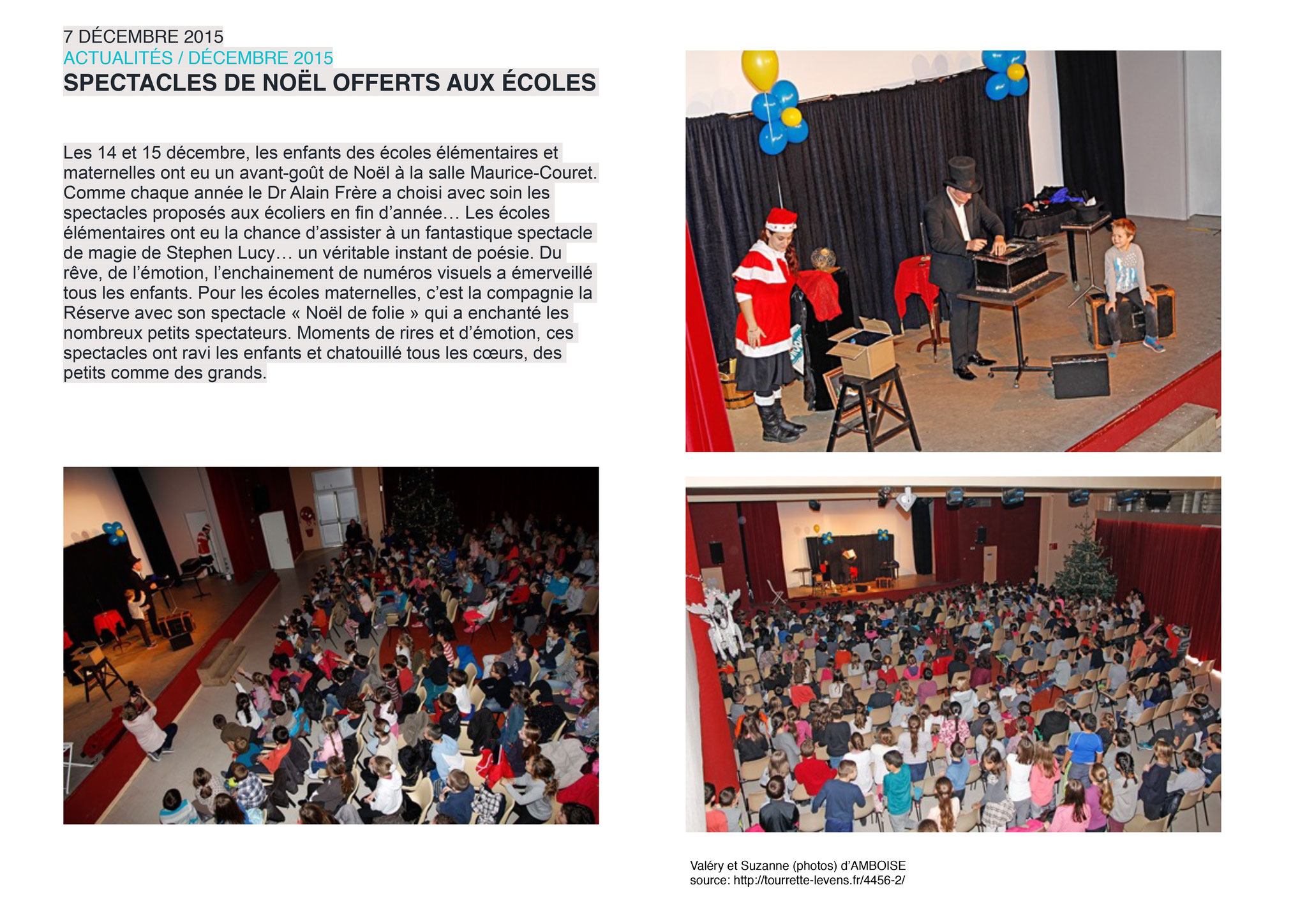 Article sur le journal de Tourette-Levens- Spectacle de magie de Stephen Lucy- Ecole de Tourrette-Levens-2015