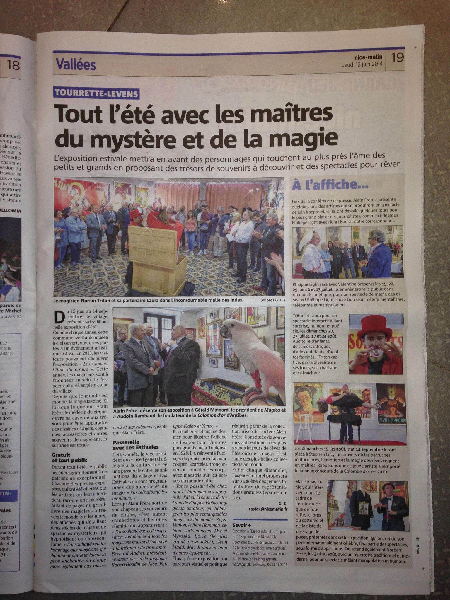 Article du Nice Matin-Les Maitres de la magie- Stephen Lucy-Tourrette-Levens-2014