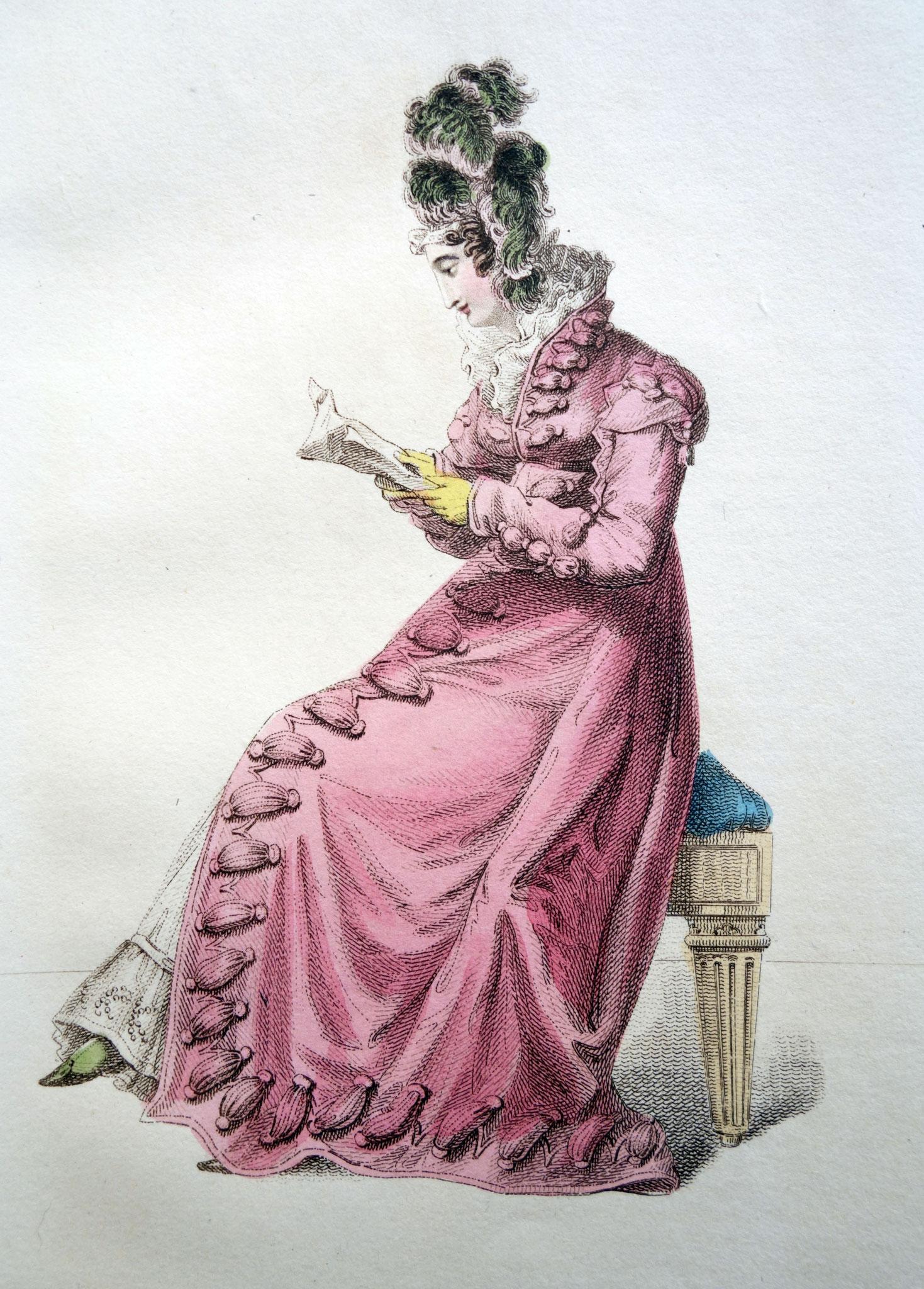 Kostüm für Besuche mit der Kutsche, La Belle Assemblee, Oktober 1820