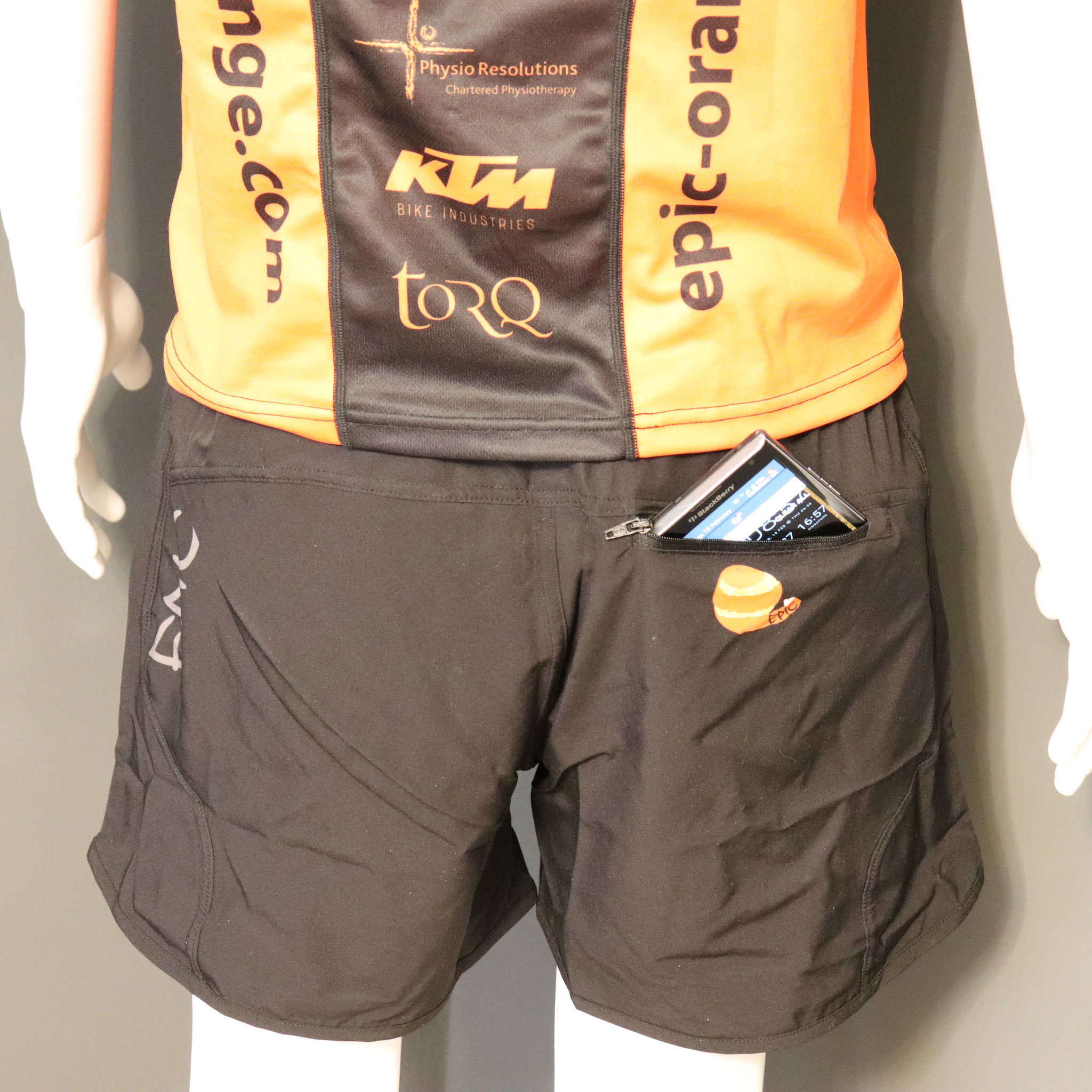 Custom Printed Long Run Shorts with Rear Zip Pocket