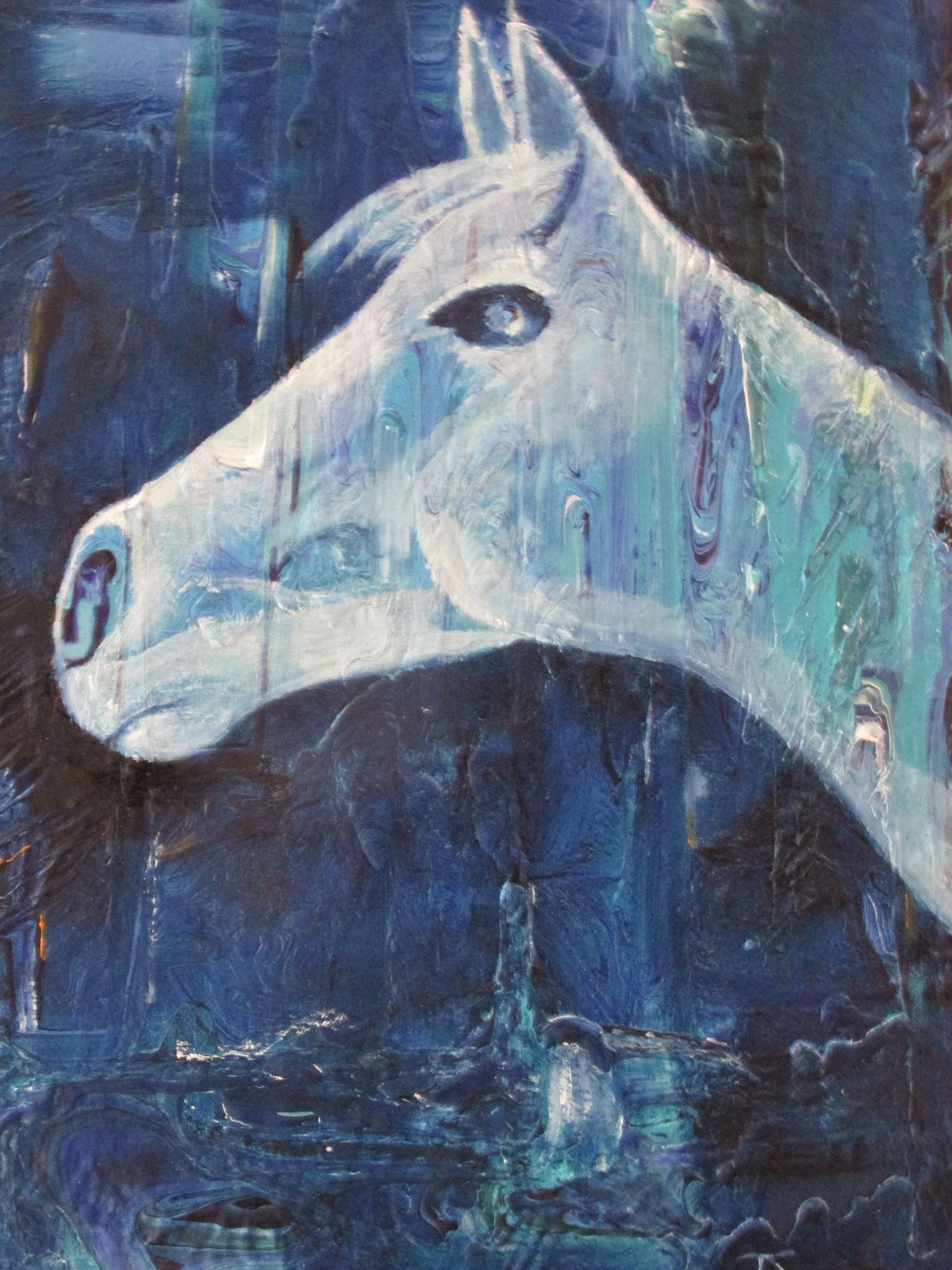 Pferd in Blau 60 x 80 cm