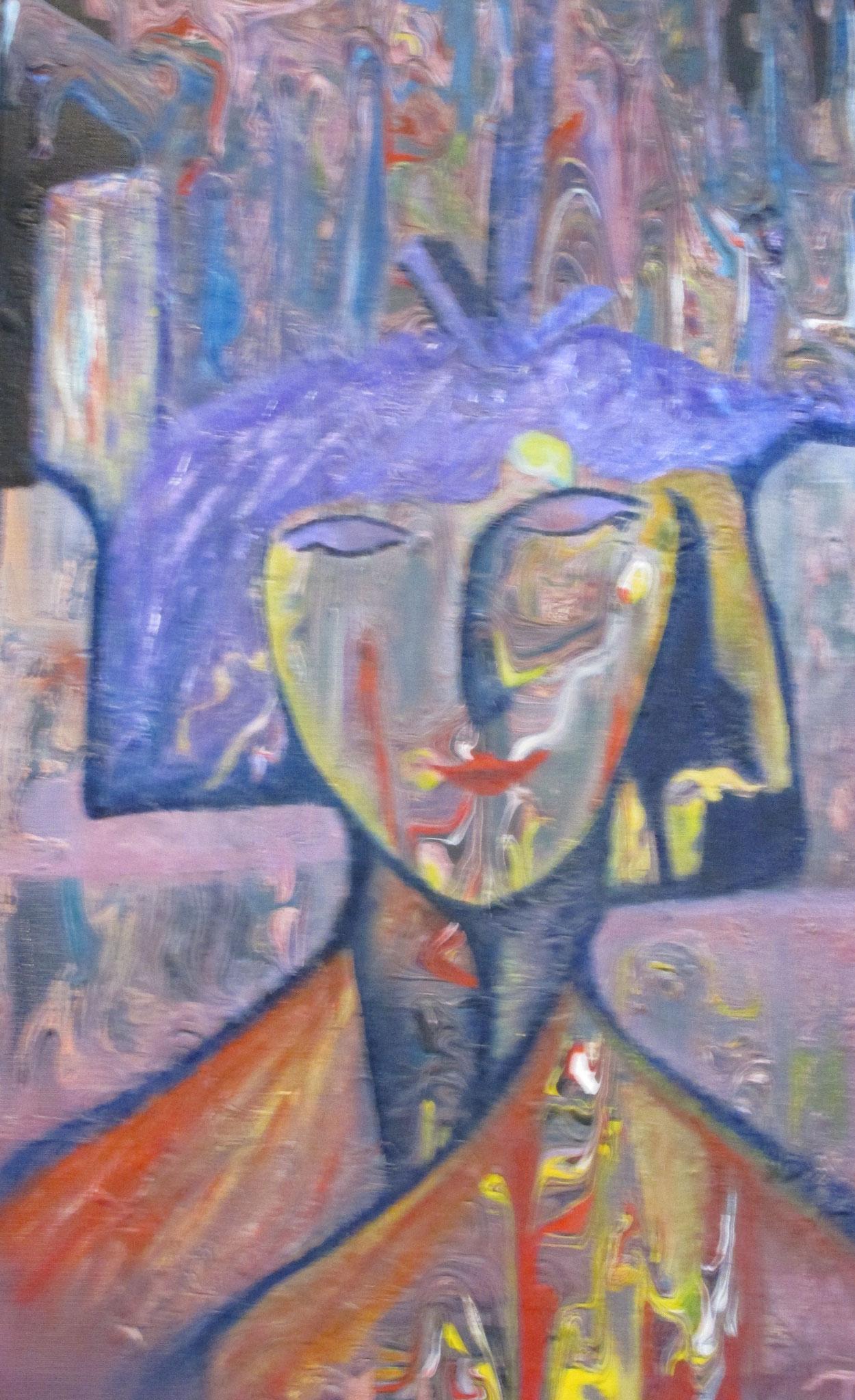 Frau in Lila 40 x 60 cm
