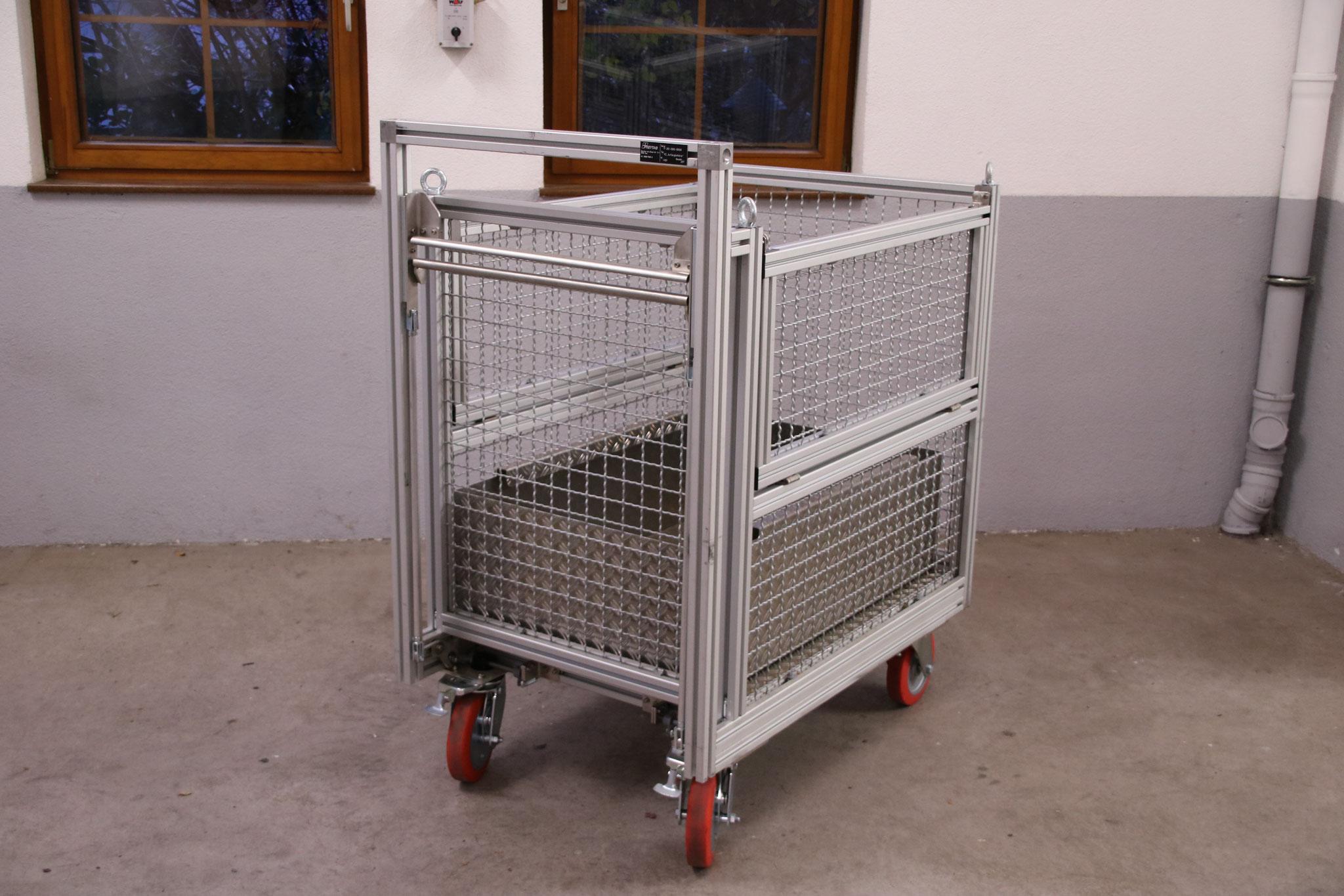 Rollcontainer Gitterbox (2x) mit Wanne (1x)