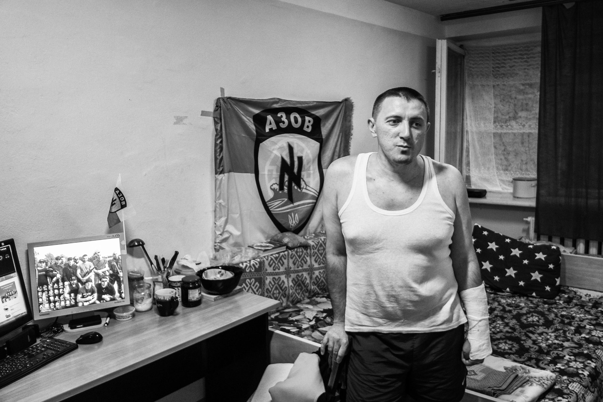 "A former member of far right ""Asow Batallion""; collective house for IDPs, Kiev 2016"